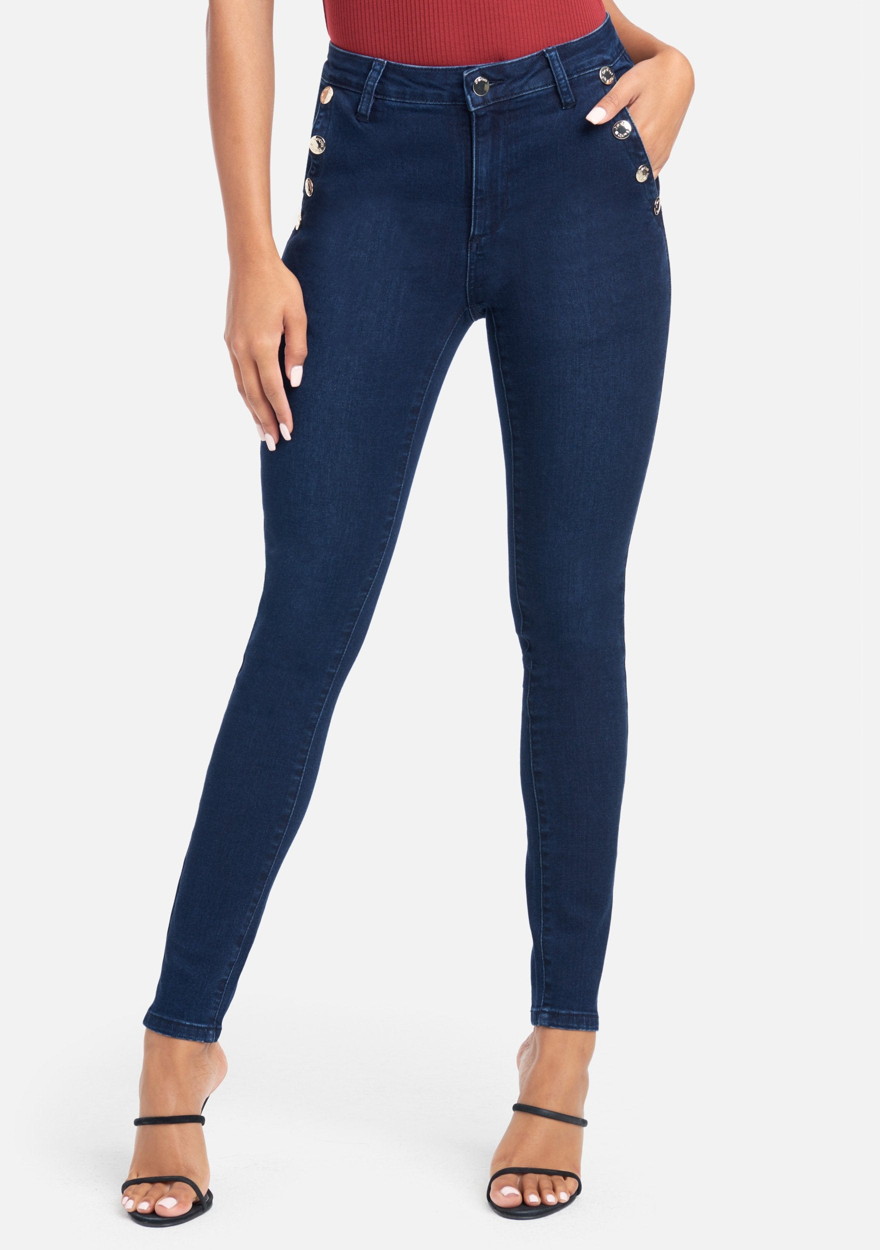 Bebe Women's Button Detail Skinny Jeans, Size 25 in Dk Indigo Wash Cotton/Spandex