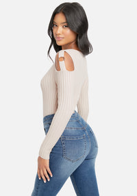 Cut Out Shoulder Sweater Top