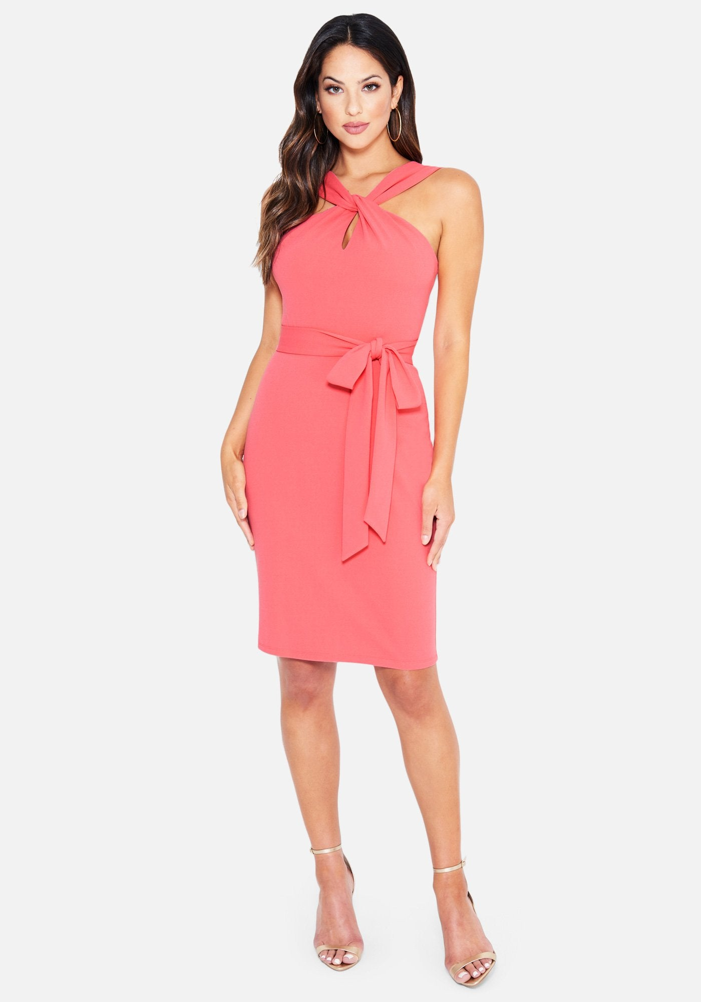 Image of Bebe Women's Keyhole Belted Midi Dress, Size 12 in Coral Polyester