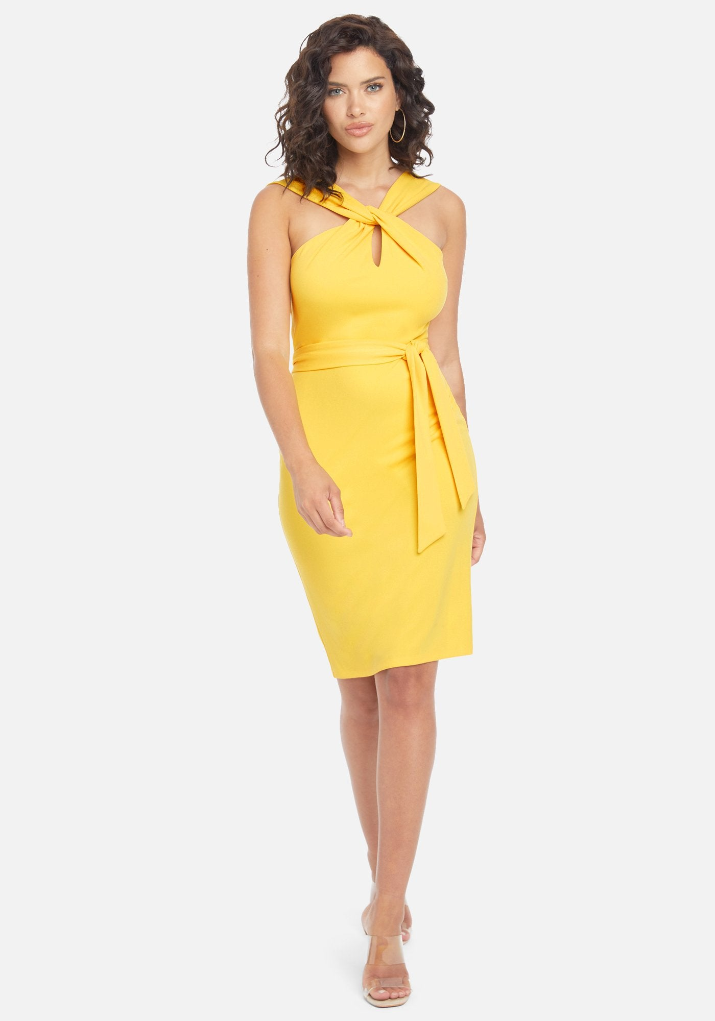 Bebe Women's Keyhole Belted Midi Dress, Size 2 in Yellow Polyester