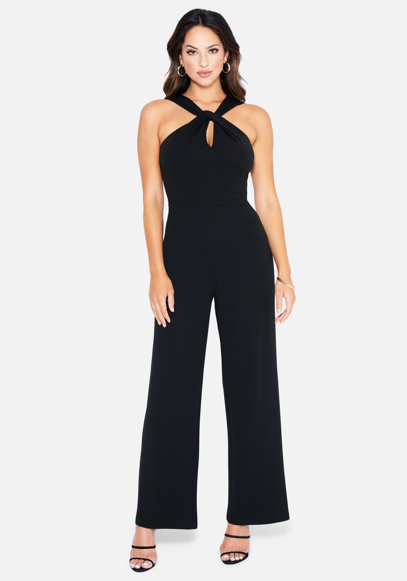 Bebe Women's Keyhole Halter Neck Jumpsuit, Size XS in Black Polyester