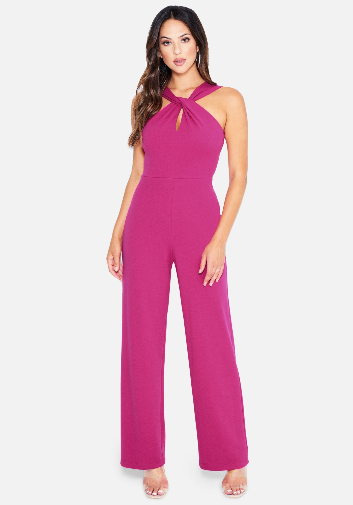 Image of Bebe Women's Keyhole Halter Neck Jumpsuit, Size Large in Fuschia Polyester