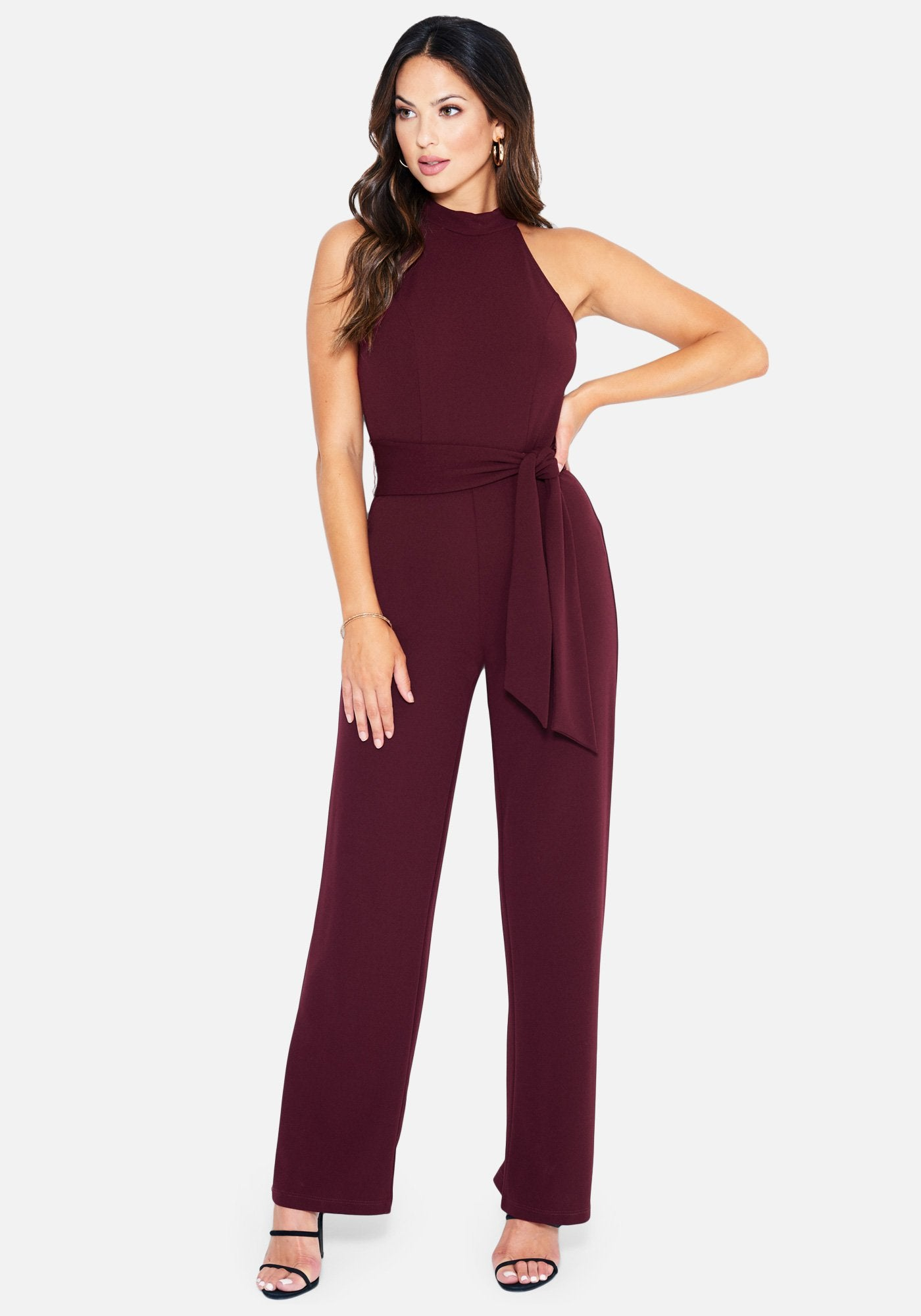 Bebe Women's Halter Neck Belted Jumpsuit, Size 2 in Wine Polyester