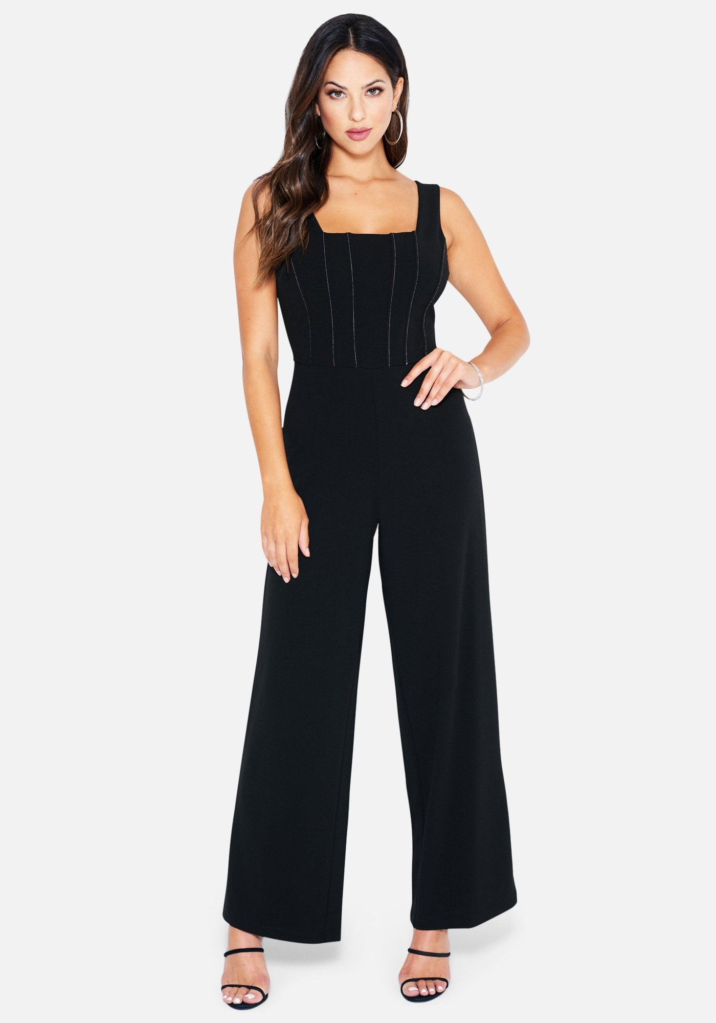 Bebe Women's Plunging Ruffle Back Jumpsuit, Size 2 in Black/Ivory Spandex