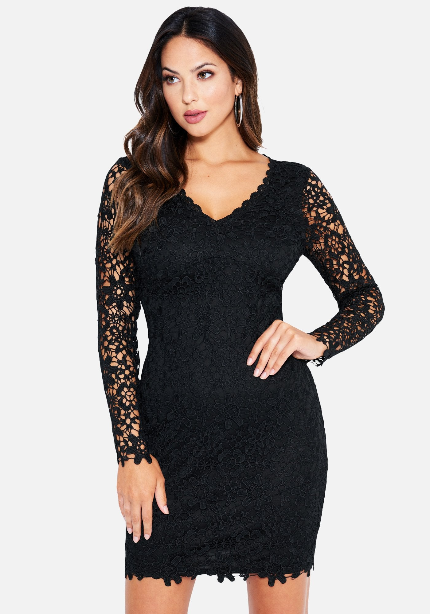 Bebe Women's Allover Lace Long Sleeve Dress, Size 2 in Black Polyester