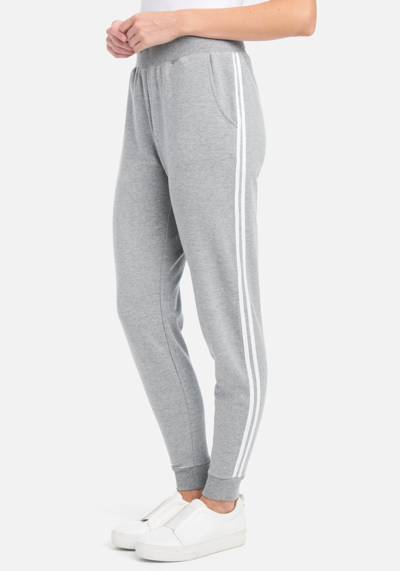 Women's Bebe Logo Contrast Jogger Pant, Size Small in Grey Heather Cotton/Spandex