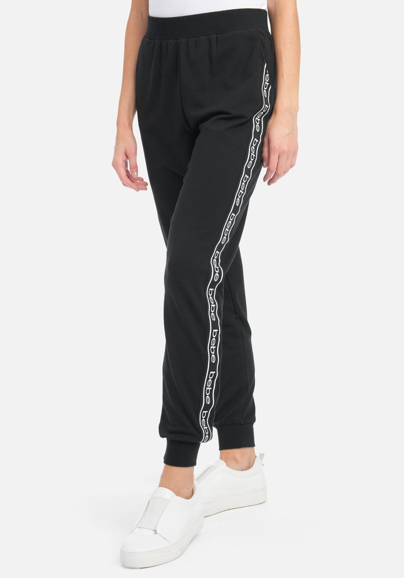 Women's Bebe Logo Side Taping Jogger Pant, Size Small in Black Cotton/Spandex
