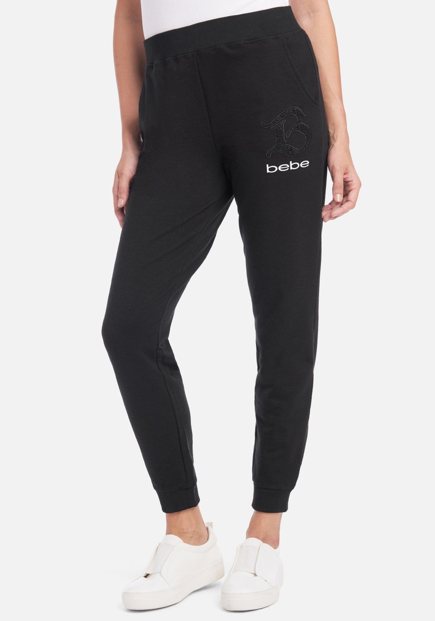 Women's Bebe Logo French Terry Pant, Size Small in Black Cotton/Spandex