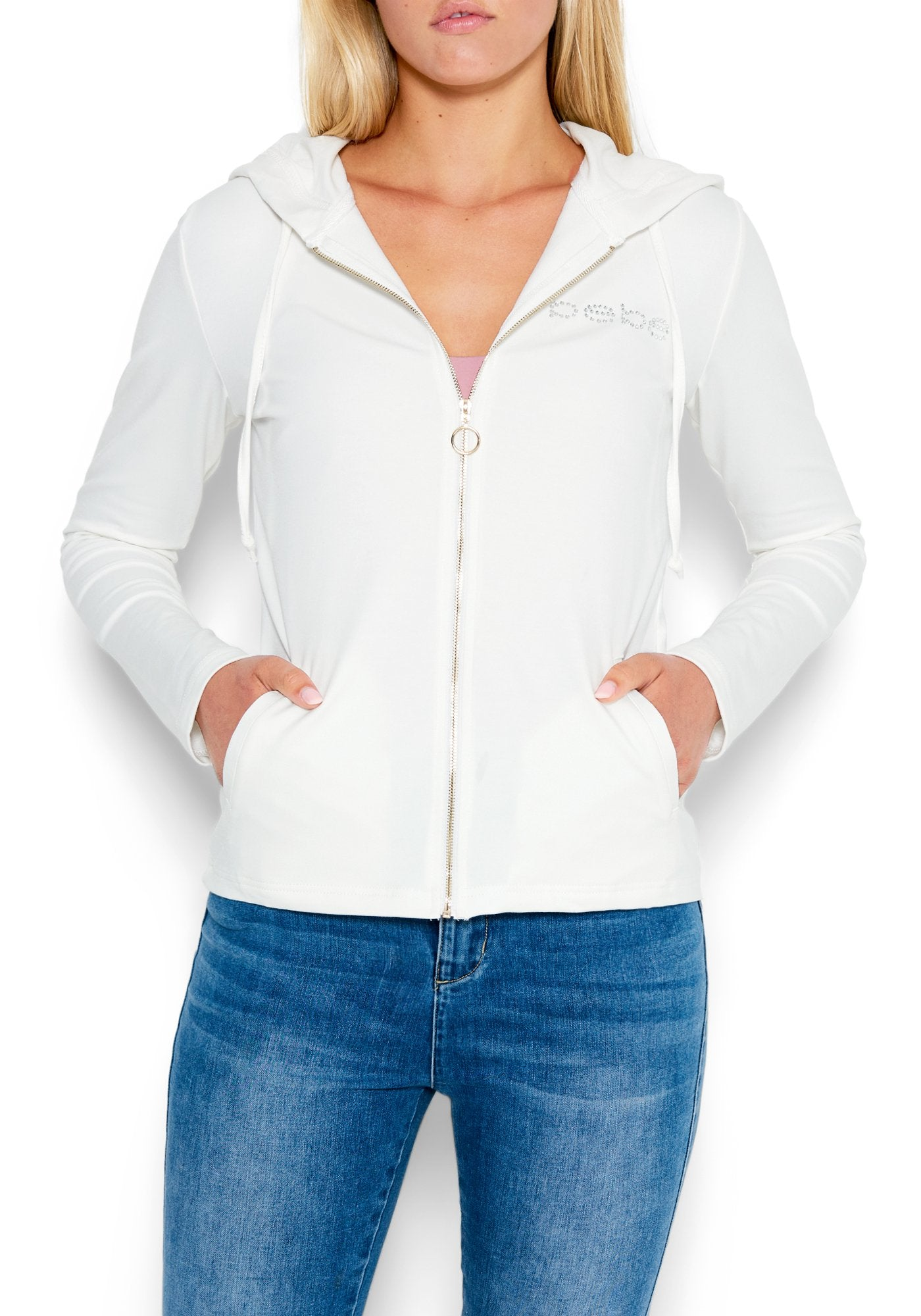 Image of Women's Bebe Logo French Terry Jacket, Size Small in MARSHMALLOW Cotton/Spandex