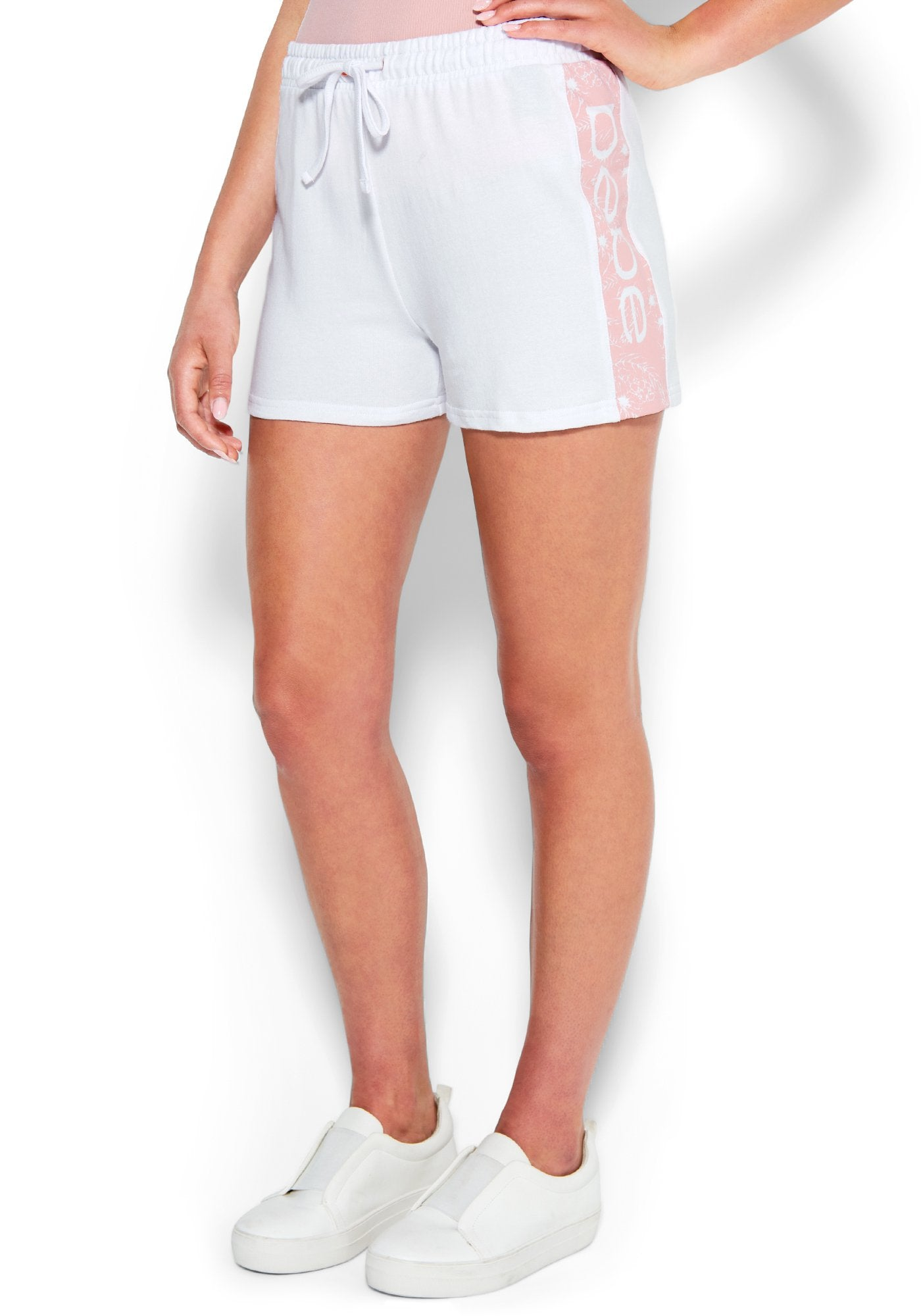 Image of Women's Bebe Logo French Terry Short, Size Medium in BRIGHT WHITE Cotton/Spandex