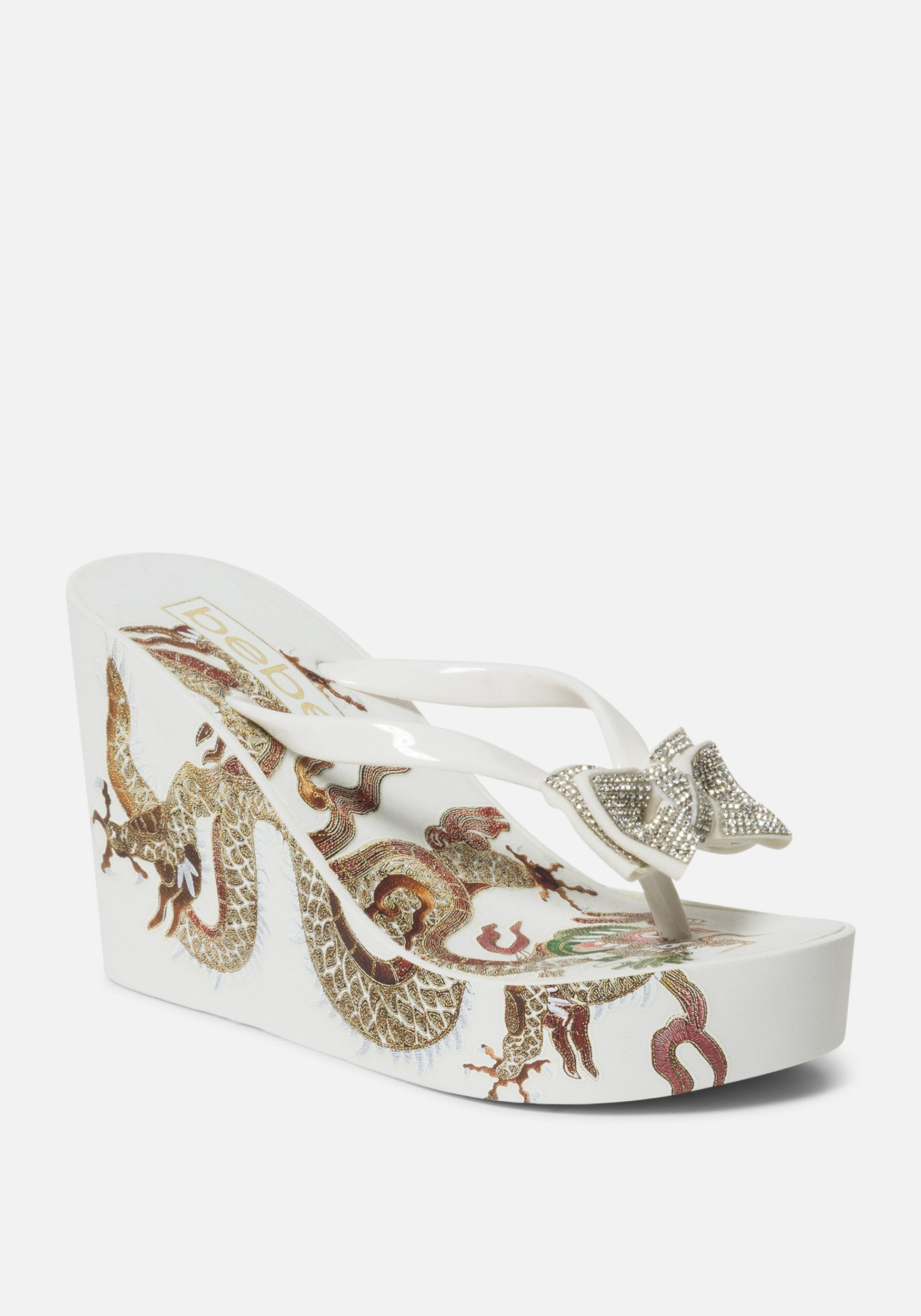 Bebe Women's Alaya Dragon Wedge Sandal, Size 6 in WHITE Synthetic