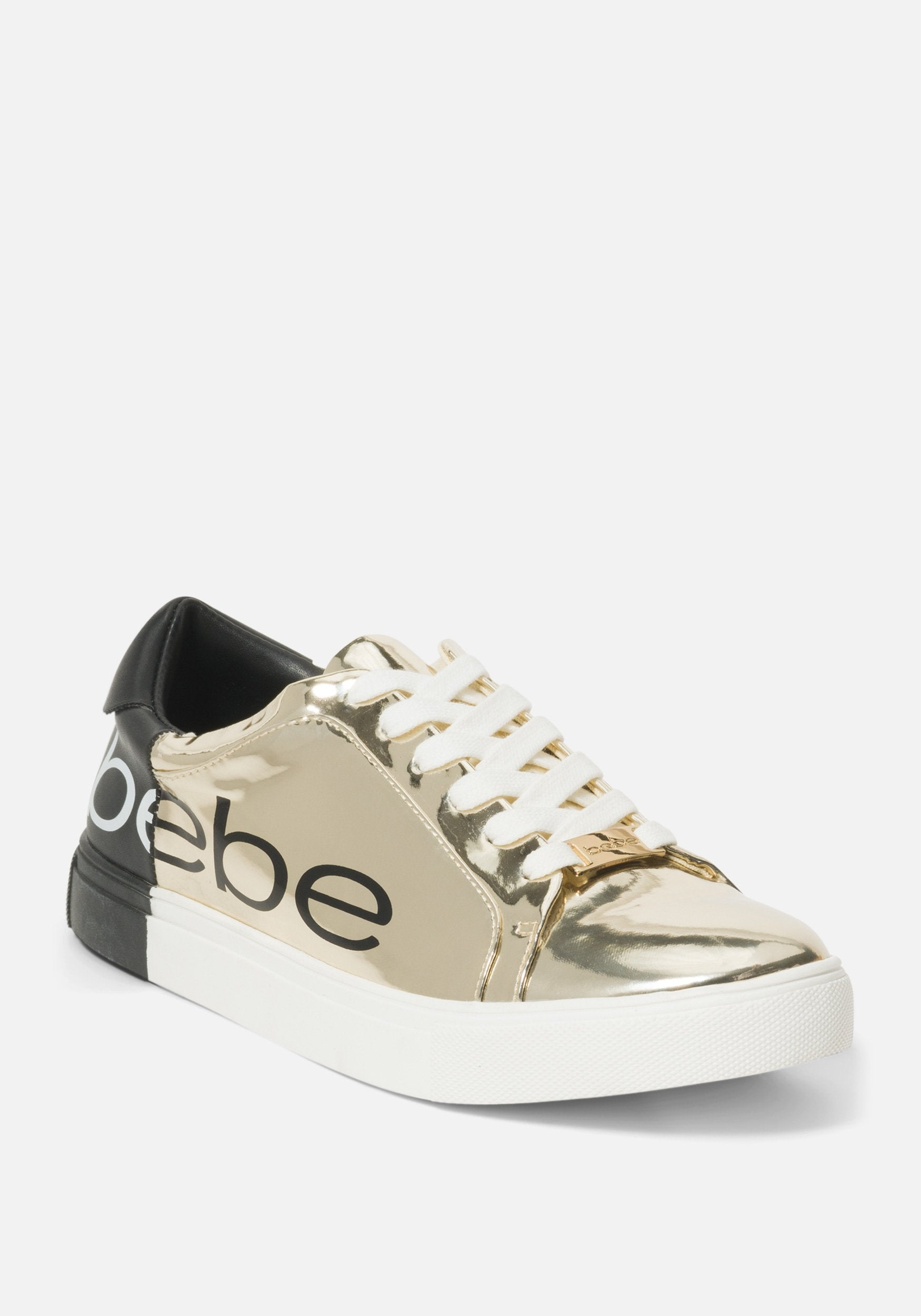 Image of Bebe Women's Charley Shoe, Size 9 in GOLD/BLACK Synthetic