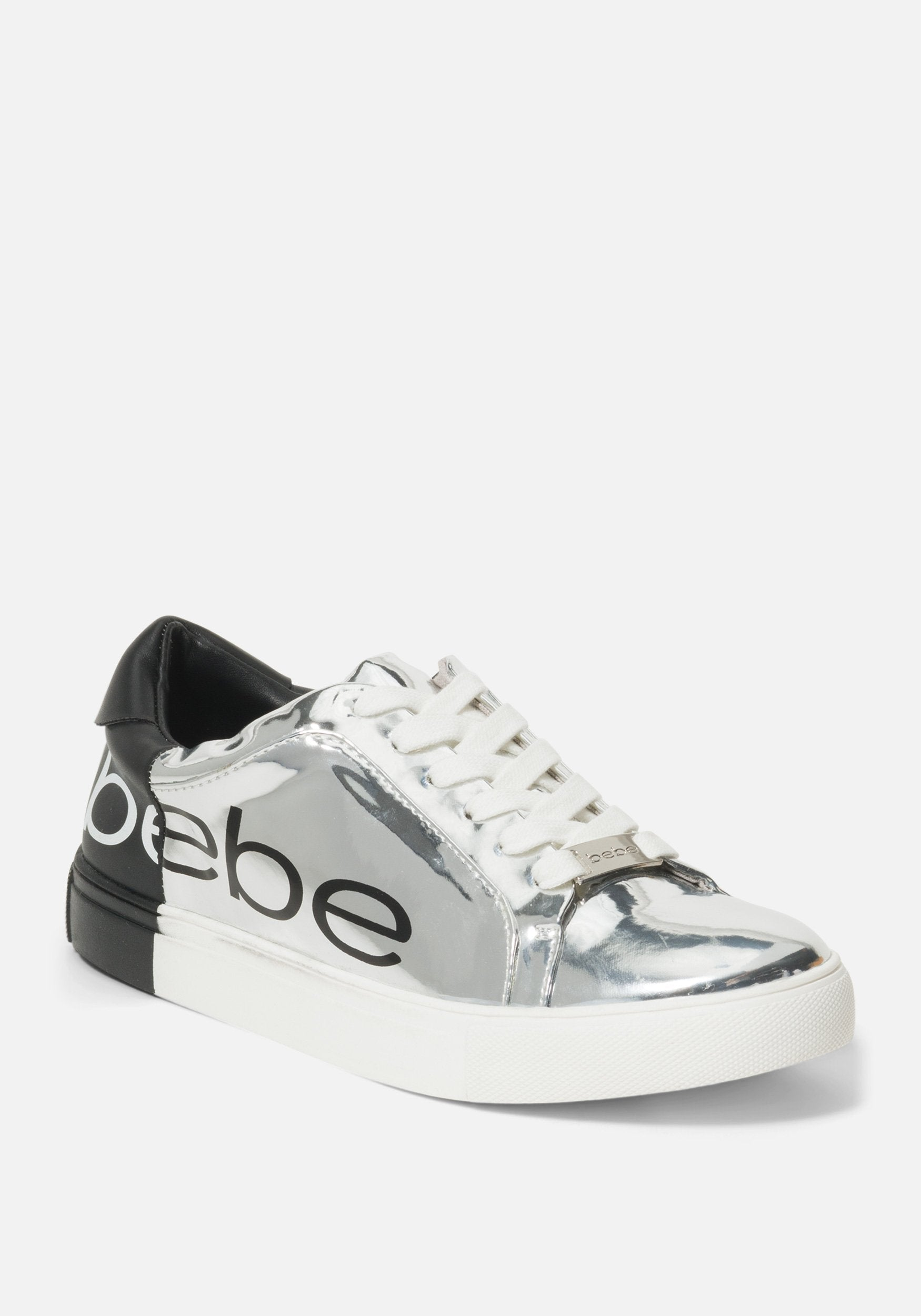 Women's Charley Bebe Logo Sneakers, Size 6 in Silver/Black Synthetic
