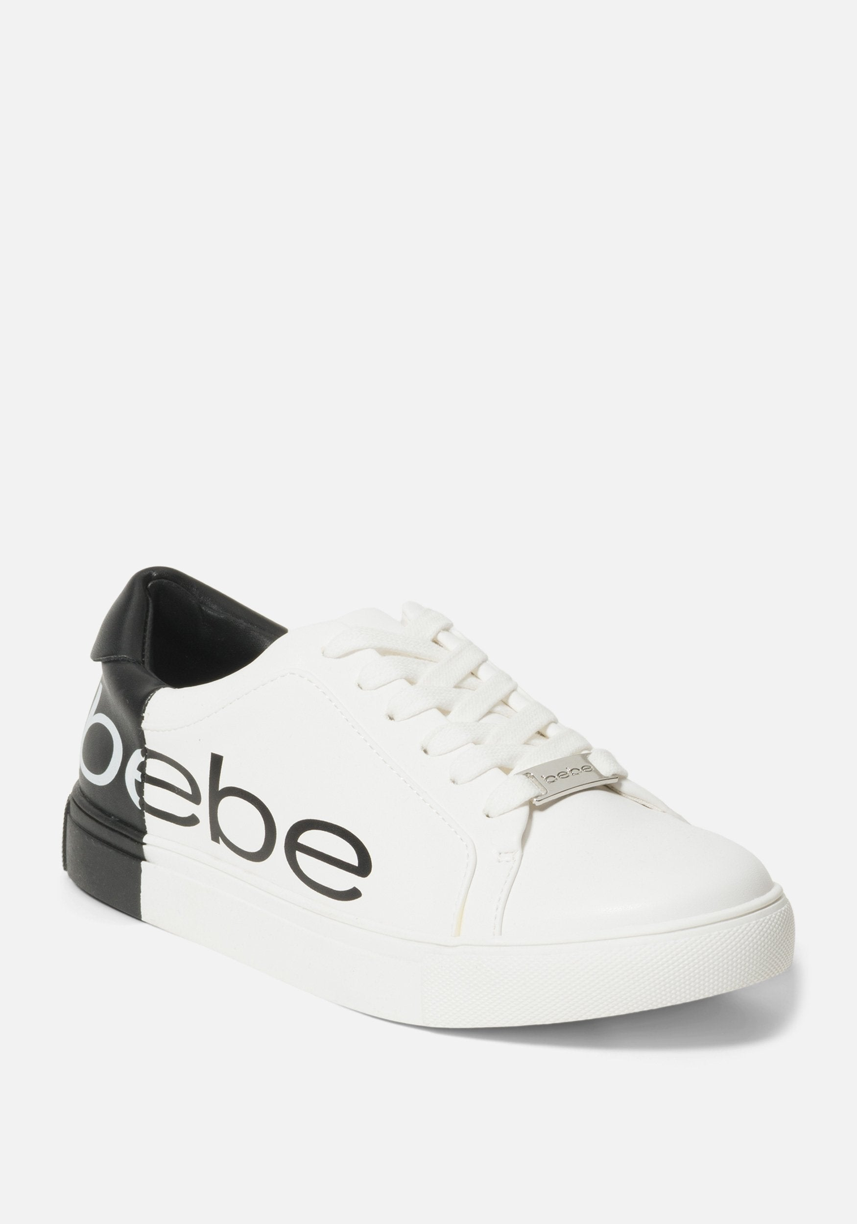 Image of Bebe Women's Charley Shoe, Size 10 in White/Black Synthetic