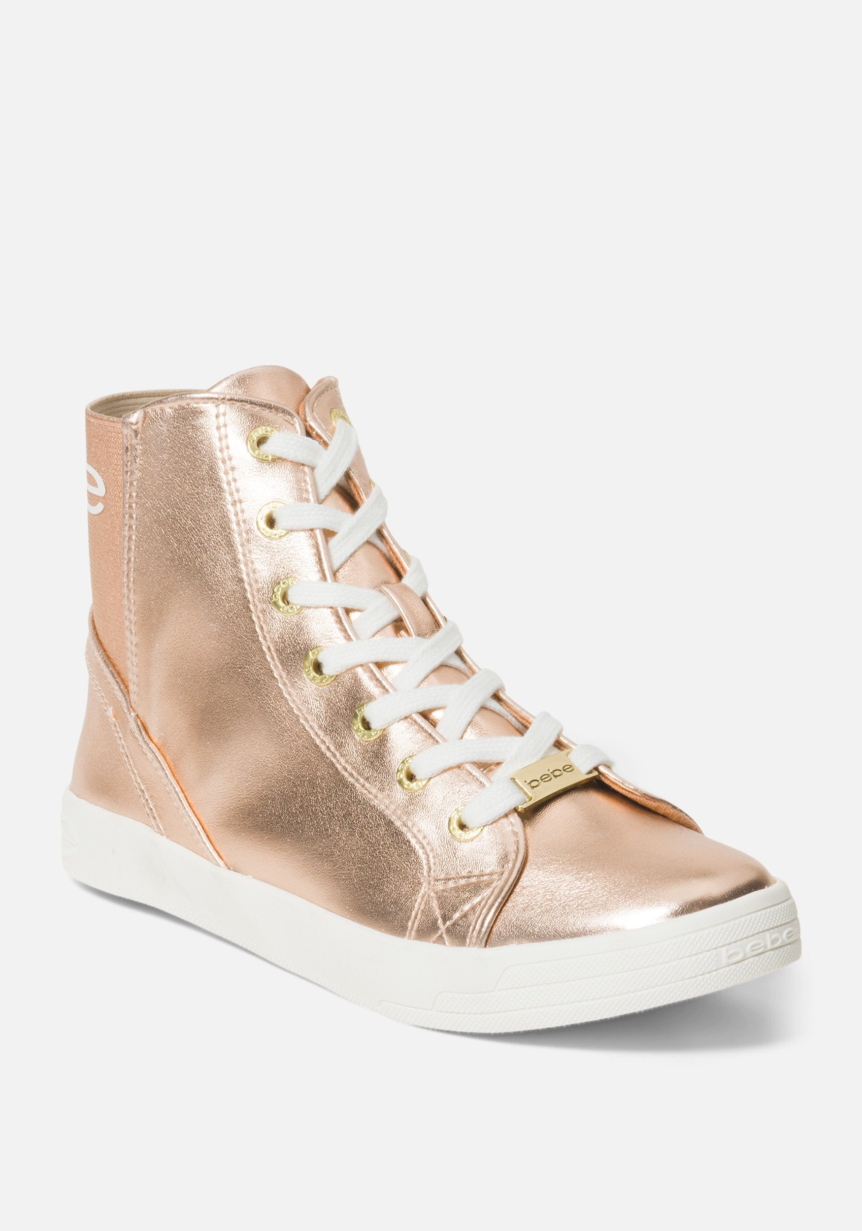 Image of Bebe Women's Dempsey Shoe, Size 8 in ROSE GOLD METALLIC Synthetic