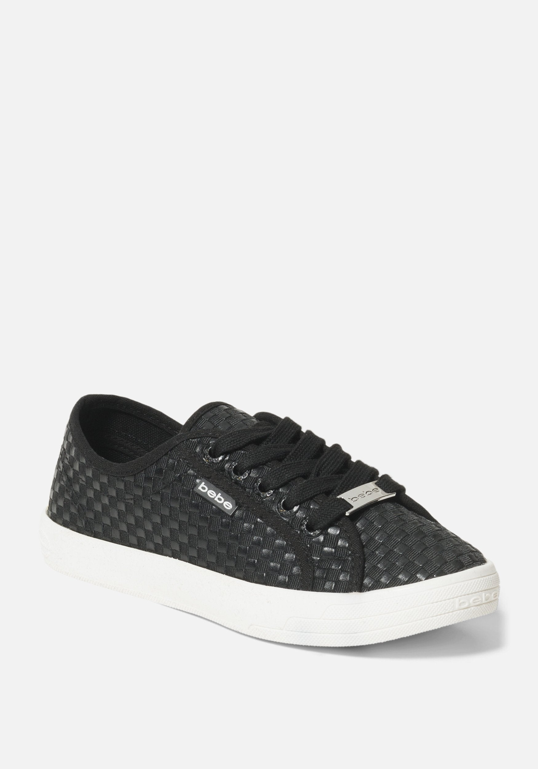Bebe Women's Dorey Basketweave Sneakers, Size 6 in BLACK Synthetic