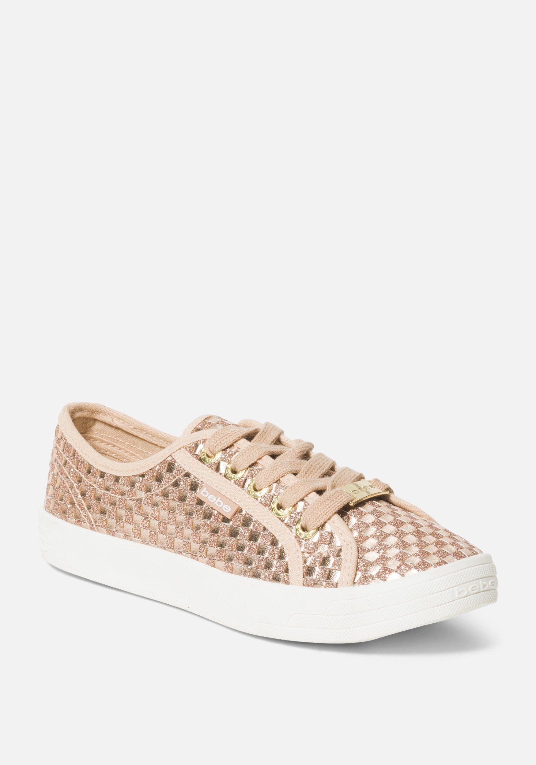 Bebe Women's Dorey Basketweave Sneakers, Size 6 in ROSE GOLD Synthetic
