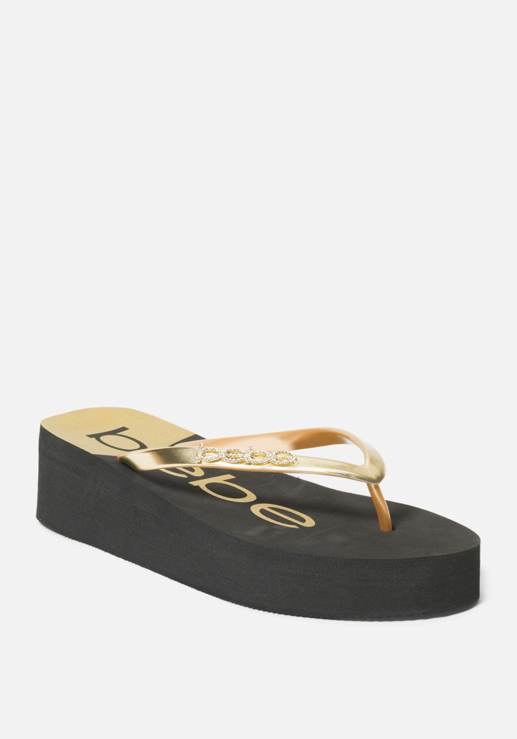 Bebe Women's Jeanie Wedge Flip Flops, Size 6 in Black/Gold Synthetic
