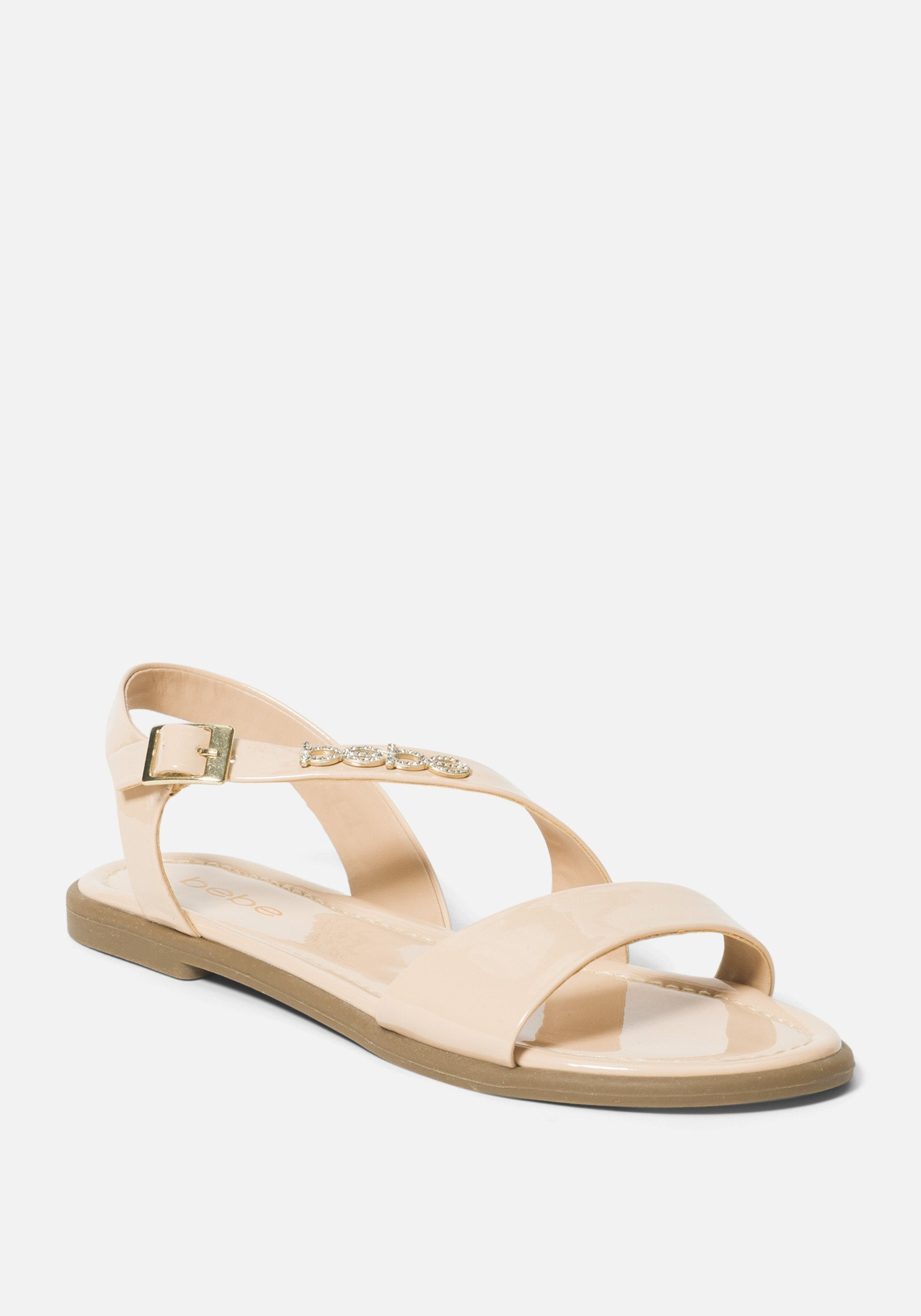 Bebe Women's Leyra Flat Sandal, Size 6 in NUDE Synthetic