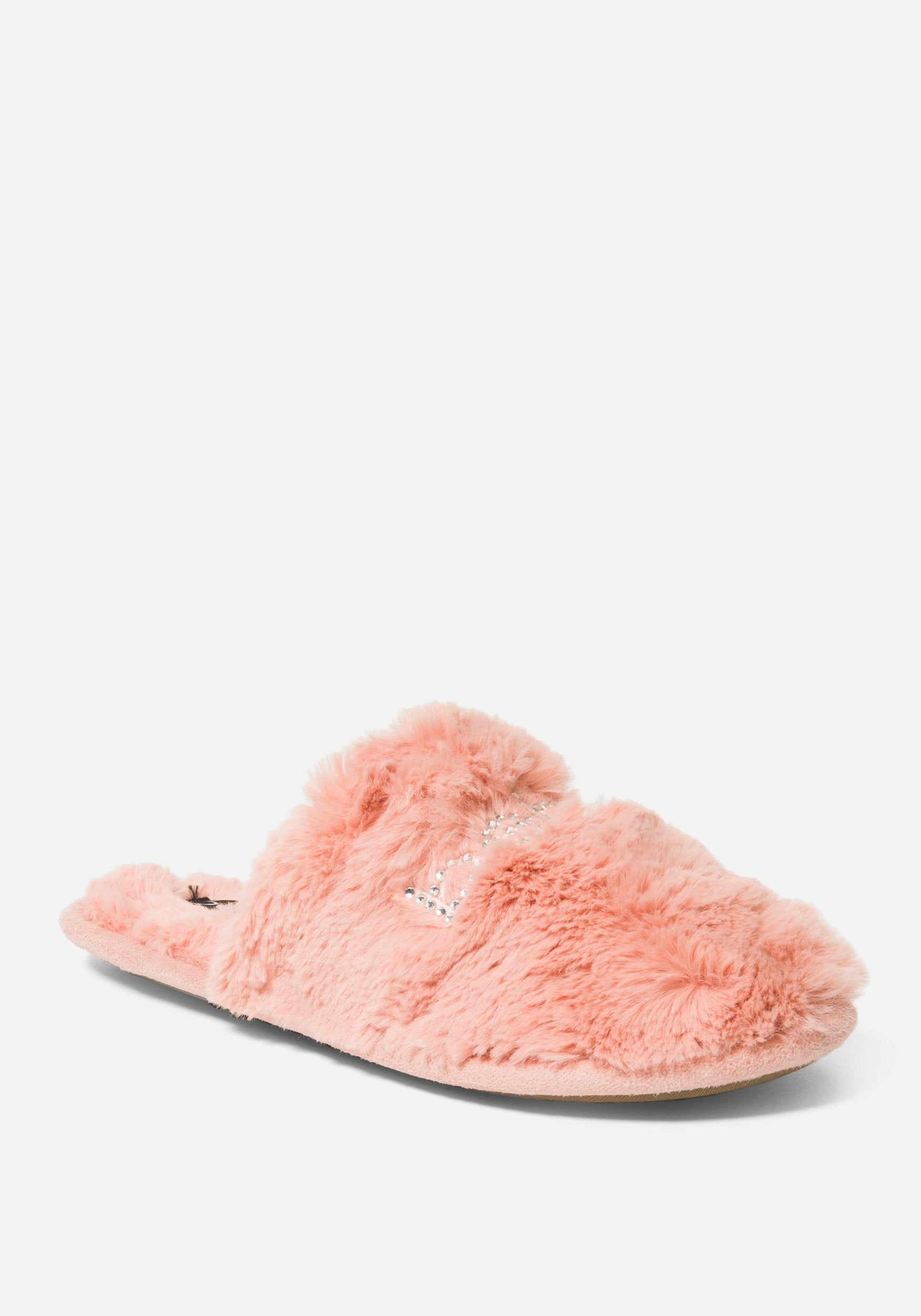 Bebe Women's Charee Faux Fur Slippers Shoe, Size 6 in PINK Synthetic