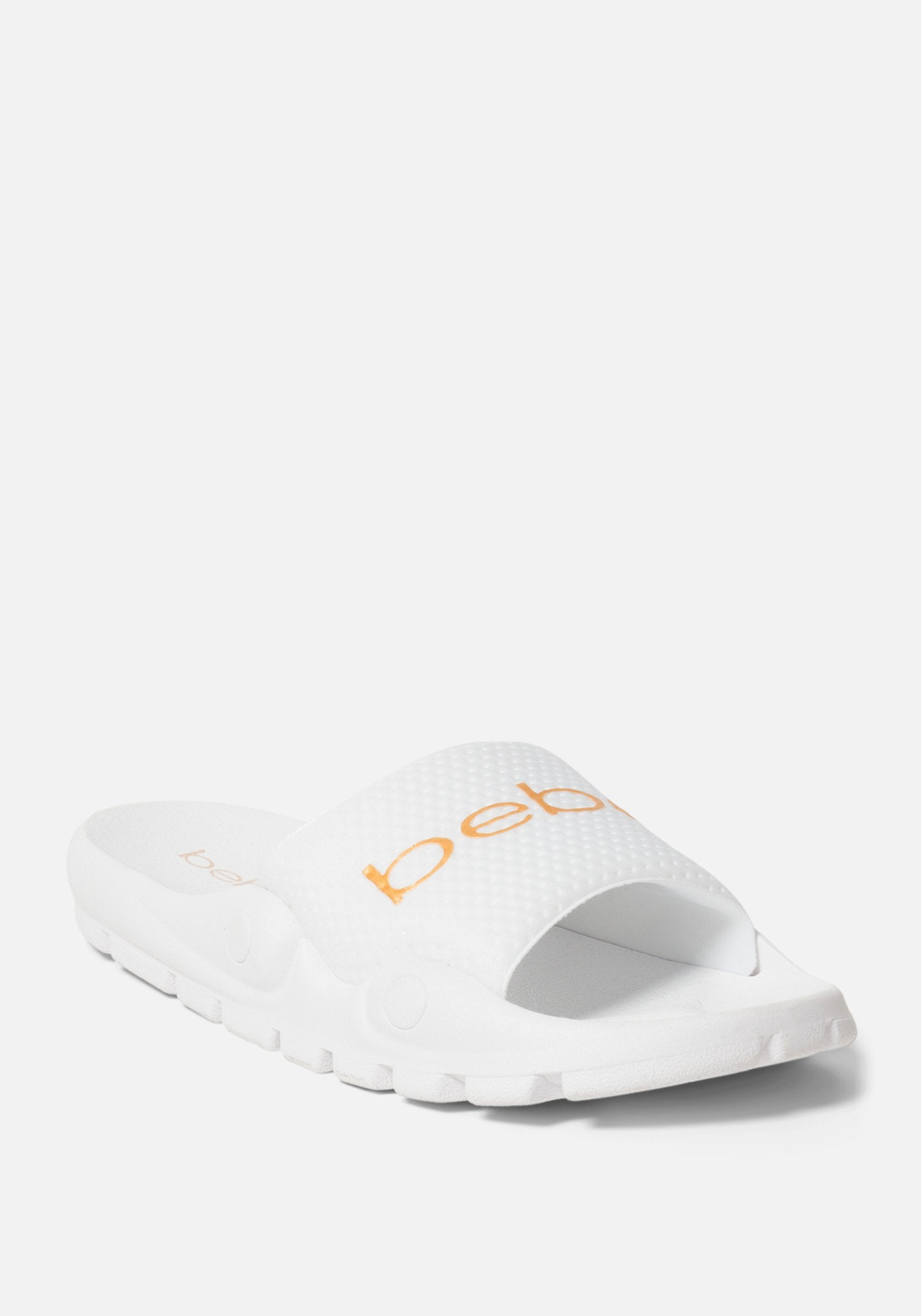 Bebe Women's Nayomie Sporty Slides Shoe, Size 6 in WHITE Synthetic