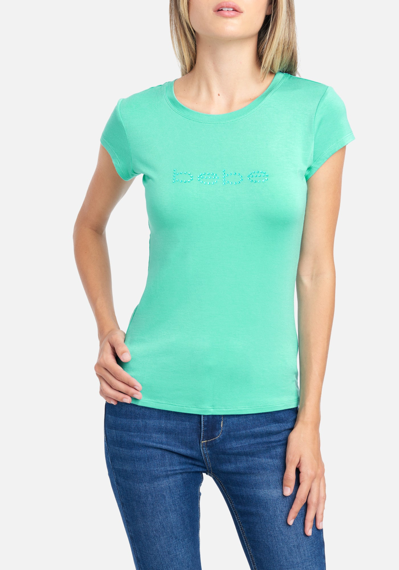 Image of Women's Bebe Logo Rhinestone Tee Shirt, Size Small in POOL BLUE Spandex