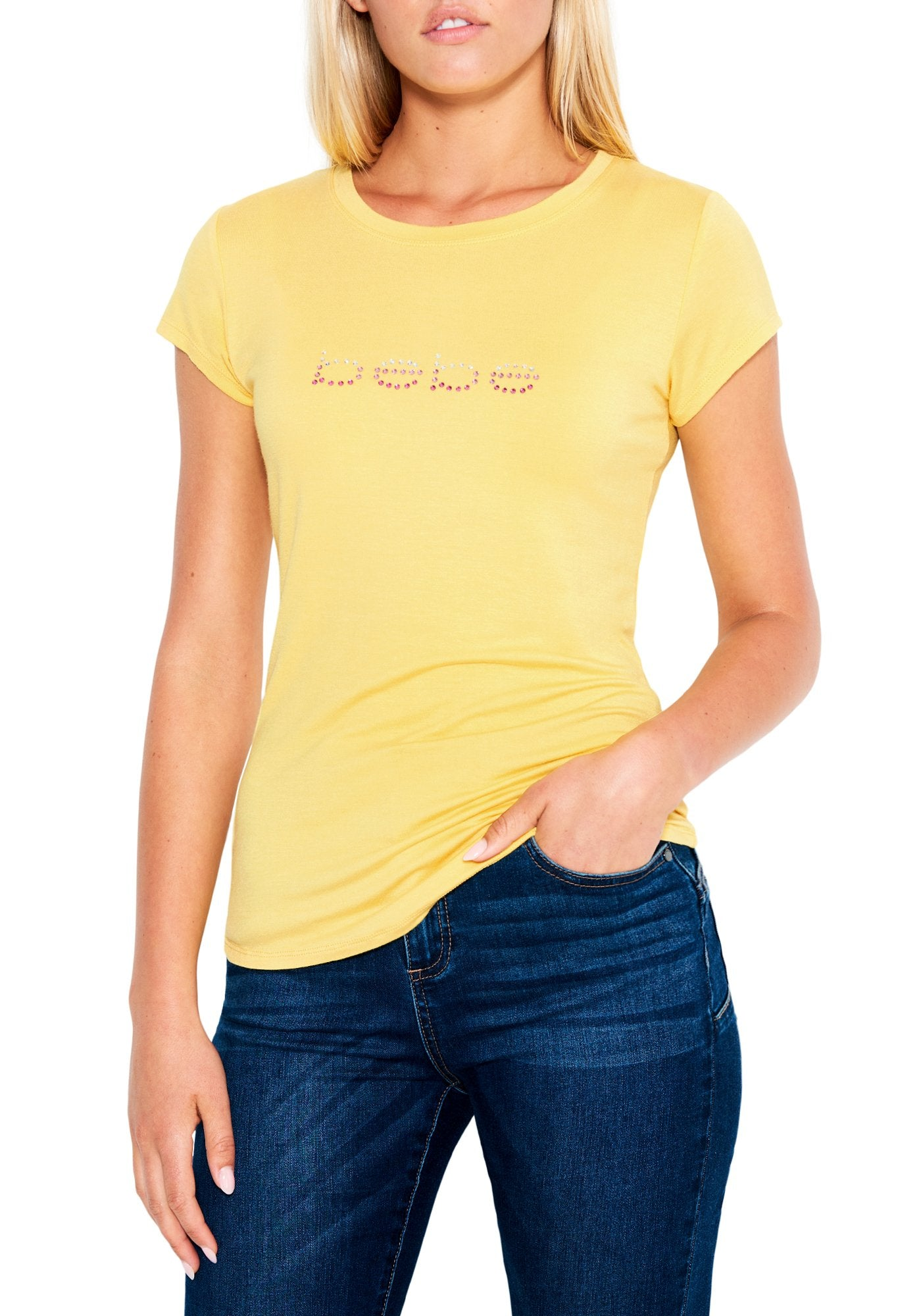Image of Women's Bebe Logo Ombre Rhinestone Tee Shirt, Size Small in ASPEN GOLD Spandex