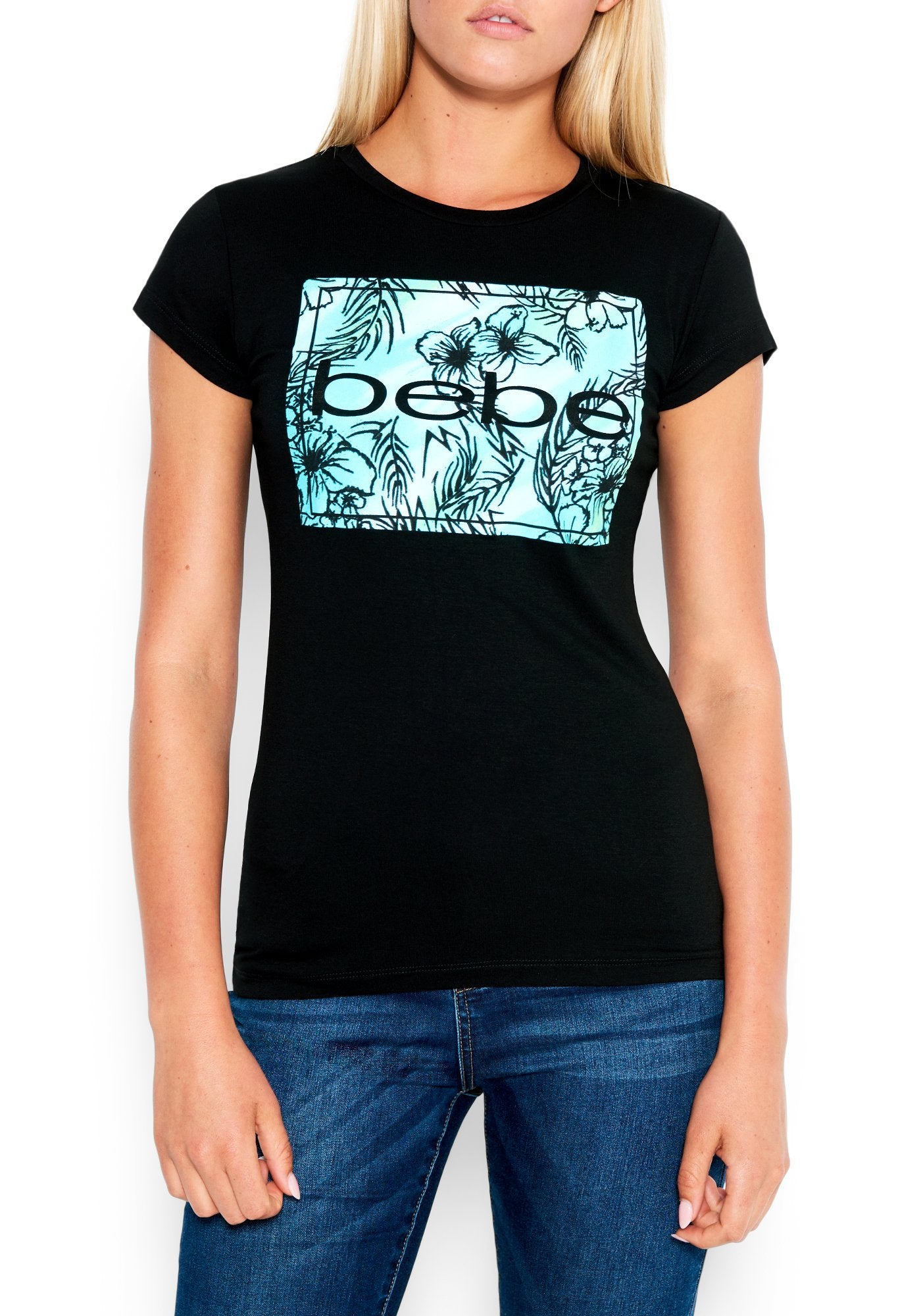 Image of Women's Bebe Logo Tropical Print Tee Shirt, Size Small in BLACK Spandex