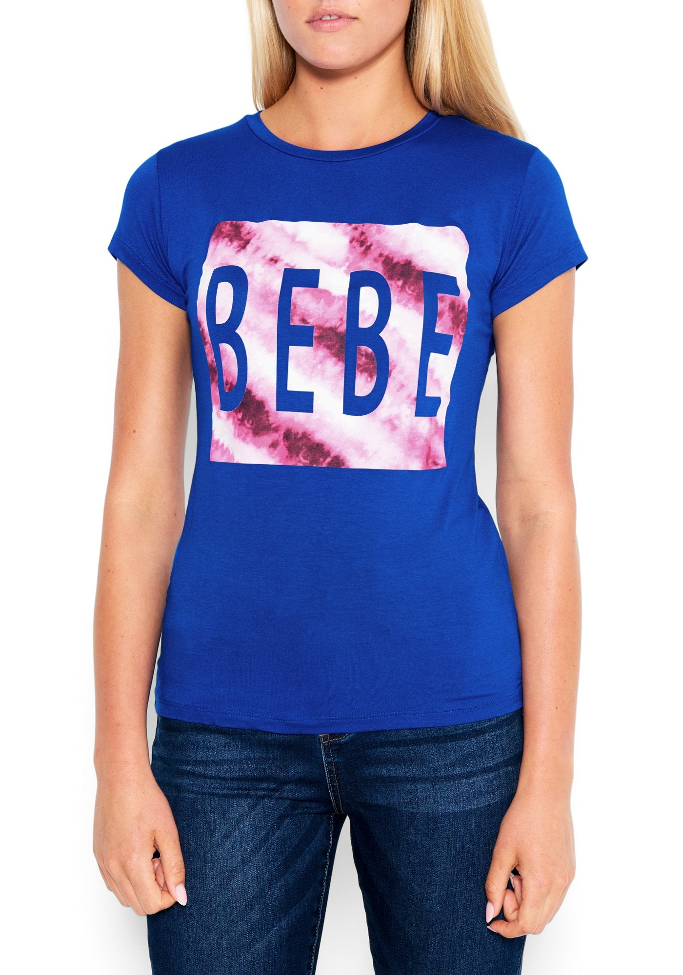 Image of Women's Bebe Logo Tie Dye Tee Shirt, Size XL in SURF THE WEB Spandex