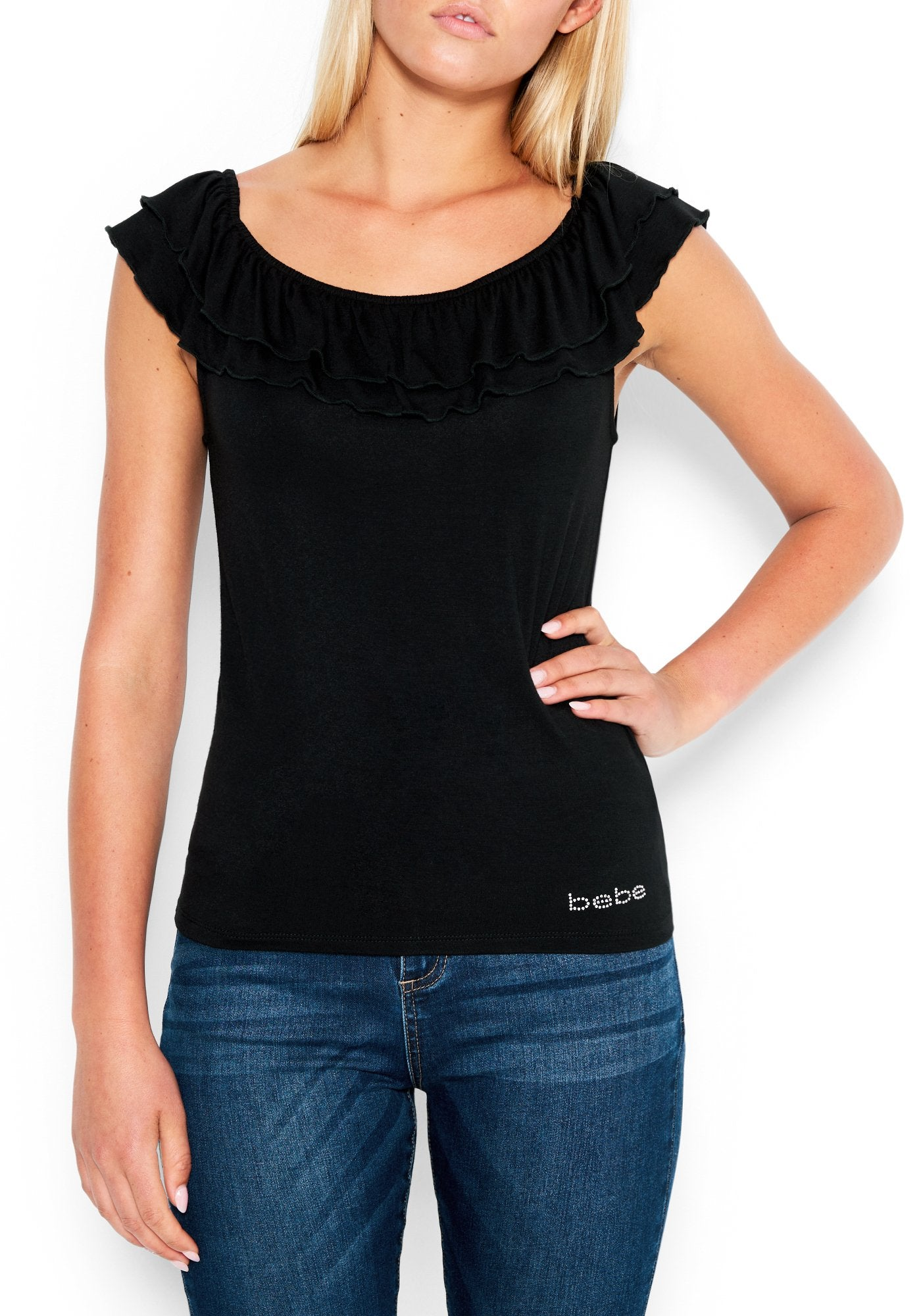 Image of Women's Bebe Logo Ruffle Off Shoulder Top, Size Small in BLACK Spandex