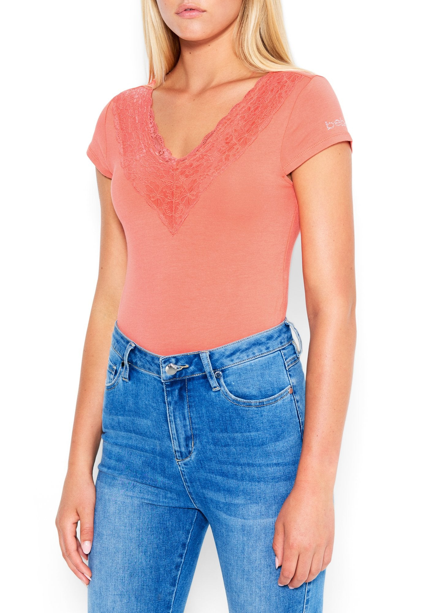 Image of Women's Bebe Logo Lace Plunge Bodysuit, Size XL in PEACH ECHO Spandex