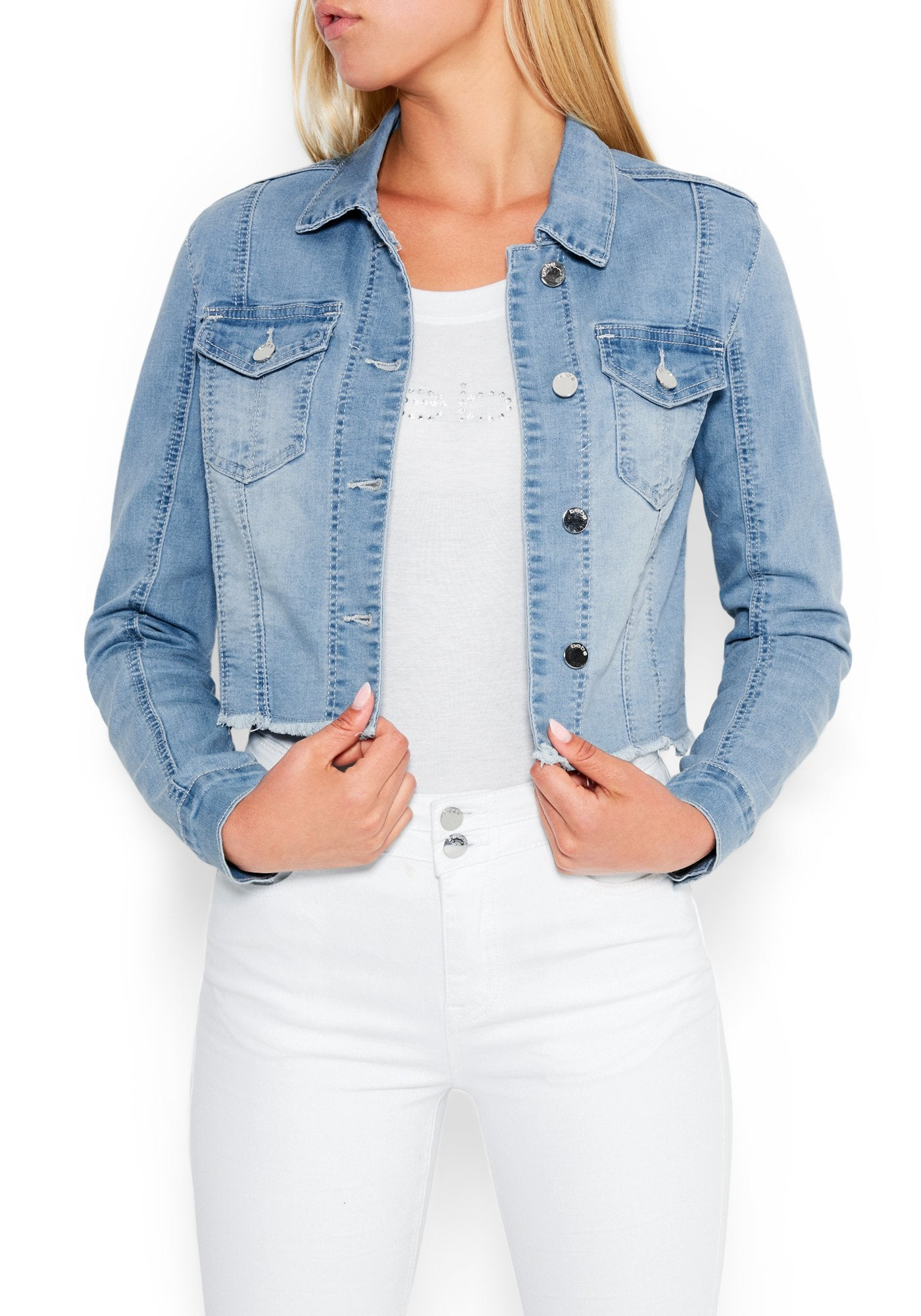 Image of Women's Bebe Logo Raw Hem Denim Jacket, Size Large in LIGHT WASH Cotton/Spandex