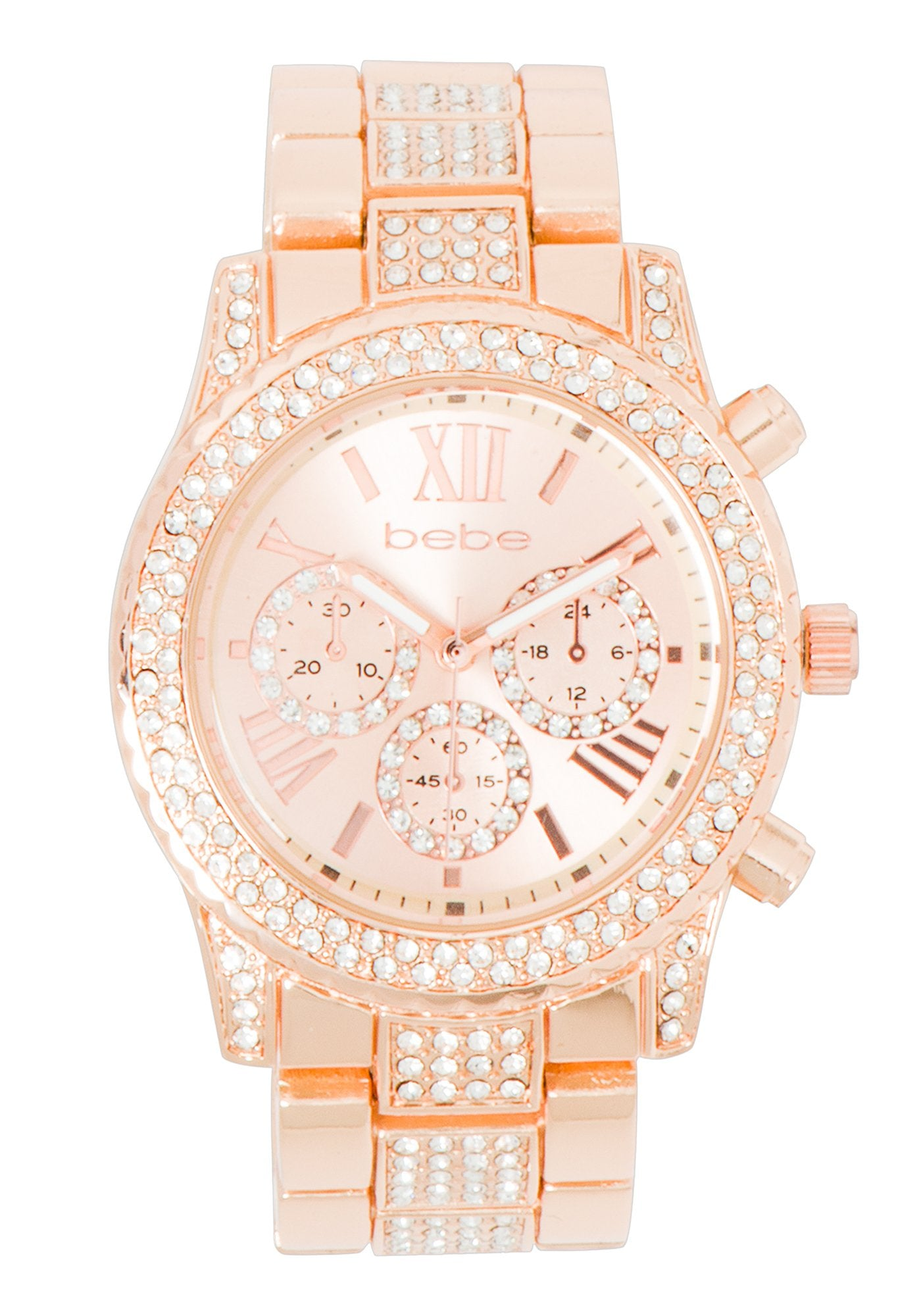 Women's Bebe Crystal Encrusted Watch in ROSE GOLD Metal