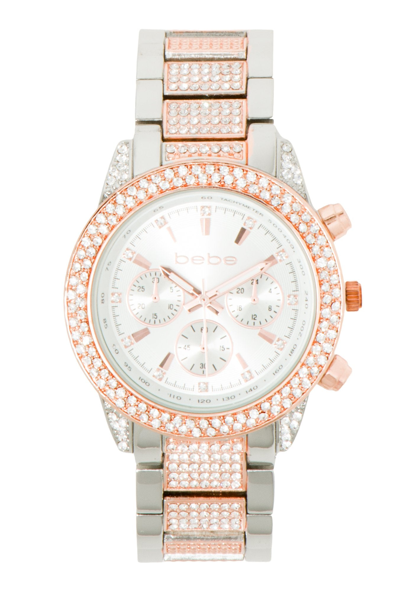 Bebe Women's Two Tone Rhinestone Watch in SILVER/ROSE GOLD Metal