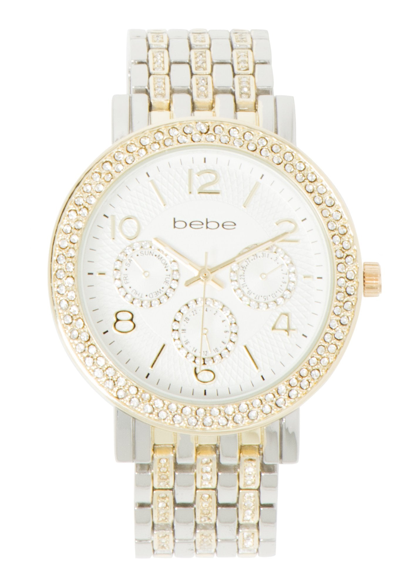 Women's Bebe Two Tone Crystal Watch in SILVER/GOLD Metal