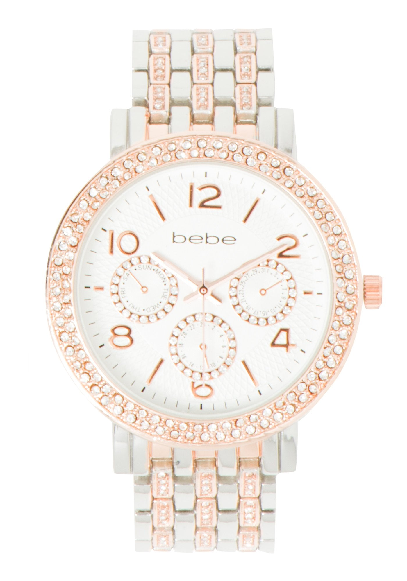 Women's Bebe Two Tone Crystal Watch in SILVER/ROSE GOLD Metal