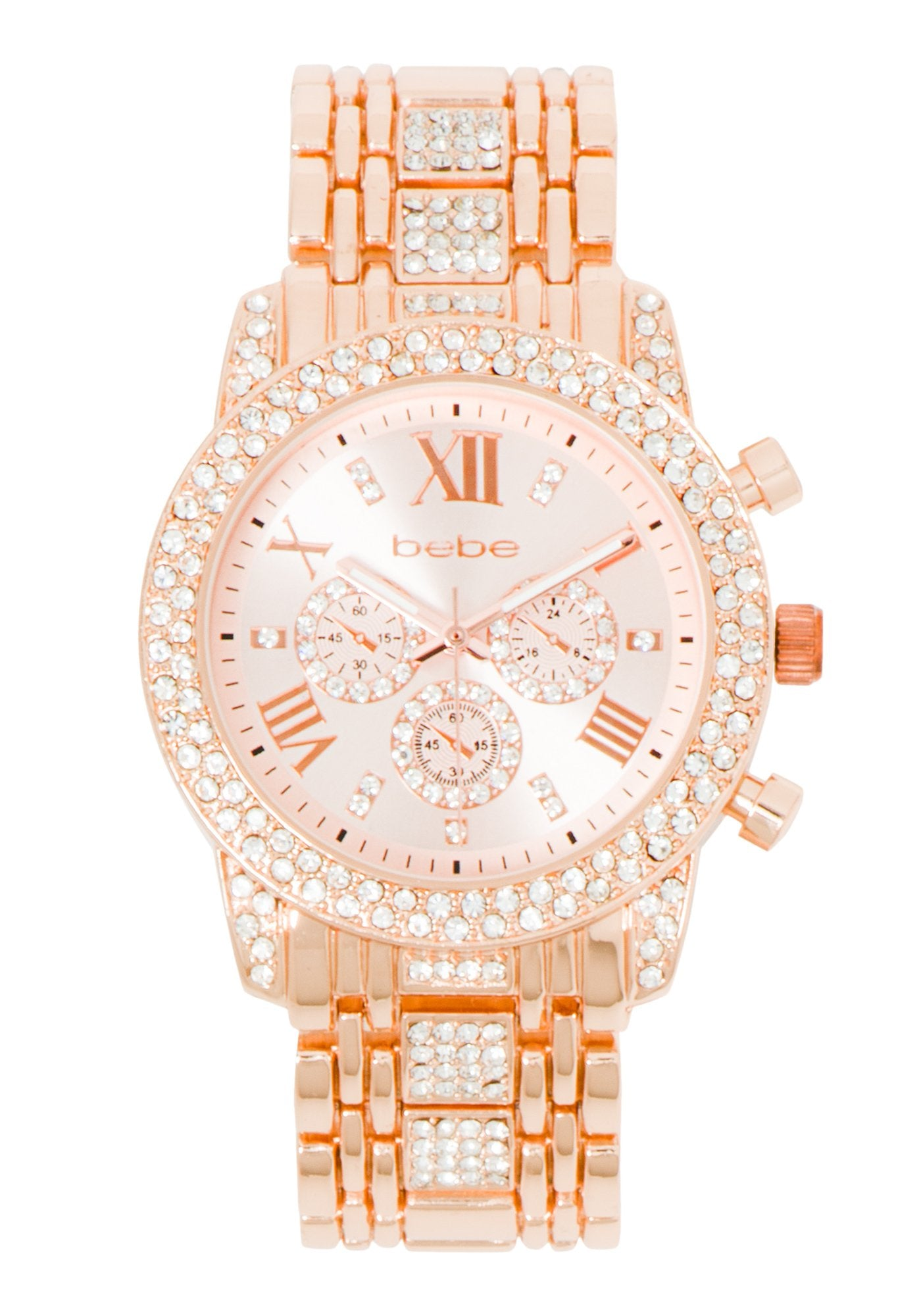 Women's Bebe Rhinestone Watch in ROSE GOLD Metal