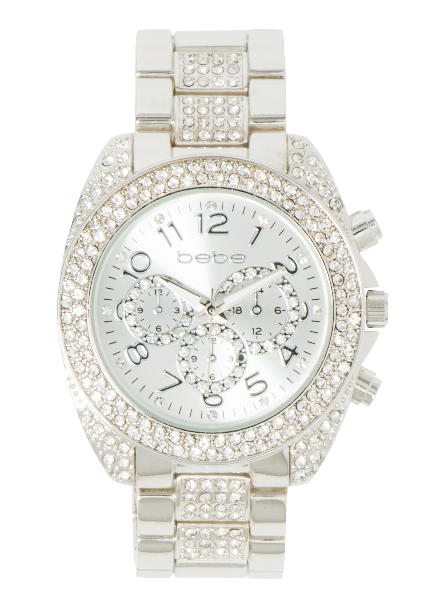 Women's Bebe Rhinestone Watch in SILVER Metal