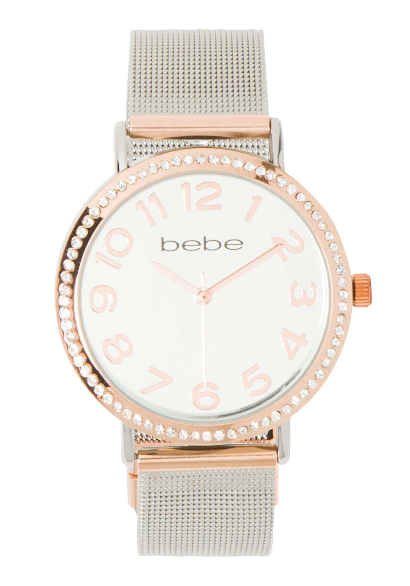 Bebe Women's Mesh Bracelet Crystal Watch in SILVER/ROSE GOLD