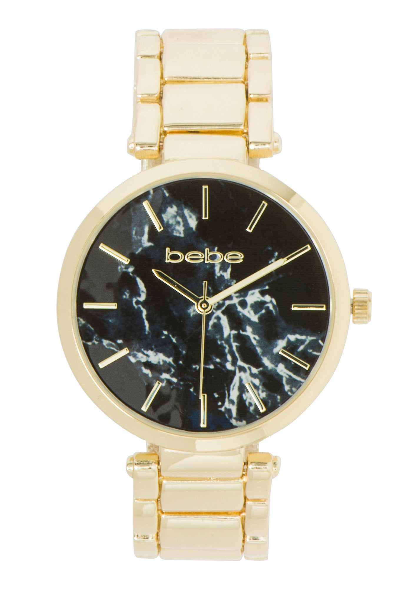 Bebe Women's Marble Face Dial Watch in BLACK/GOLD Metal
