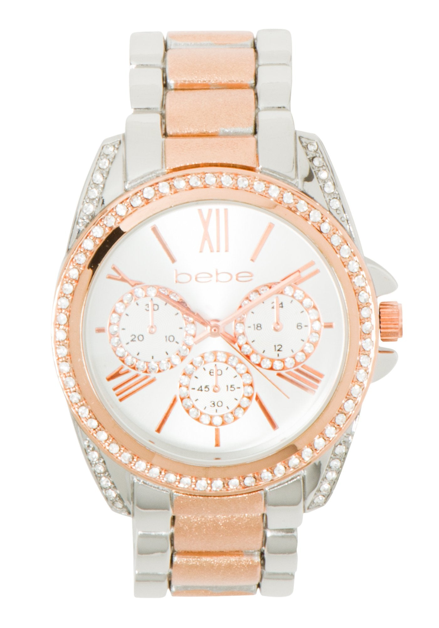 Bebe Women's Mixed Metal Link Watch in SILVER/ROSE GOLD