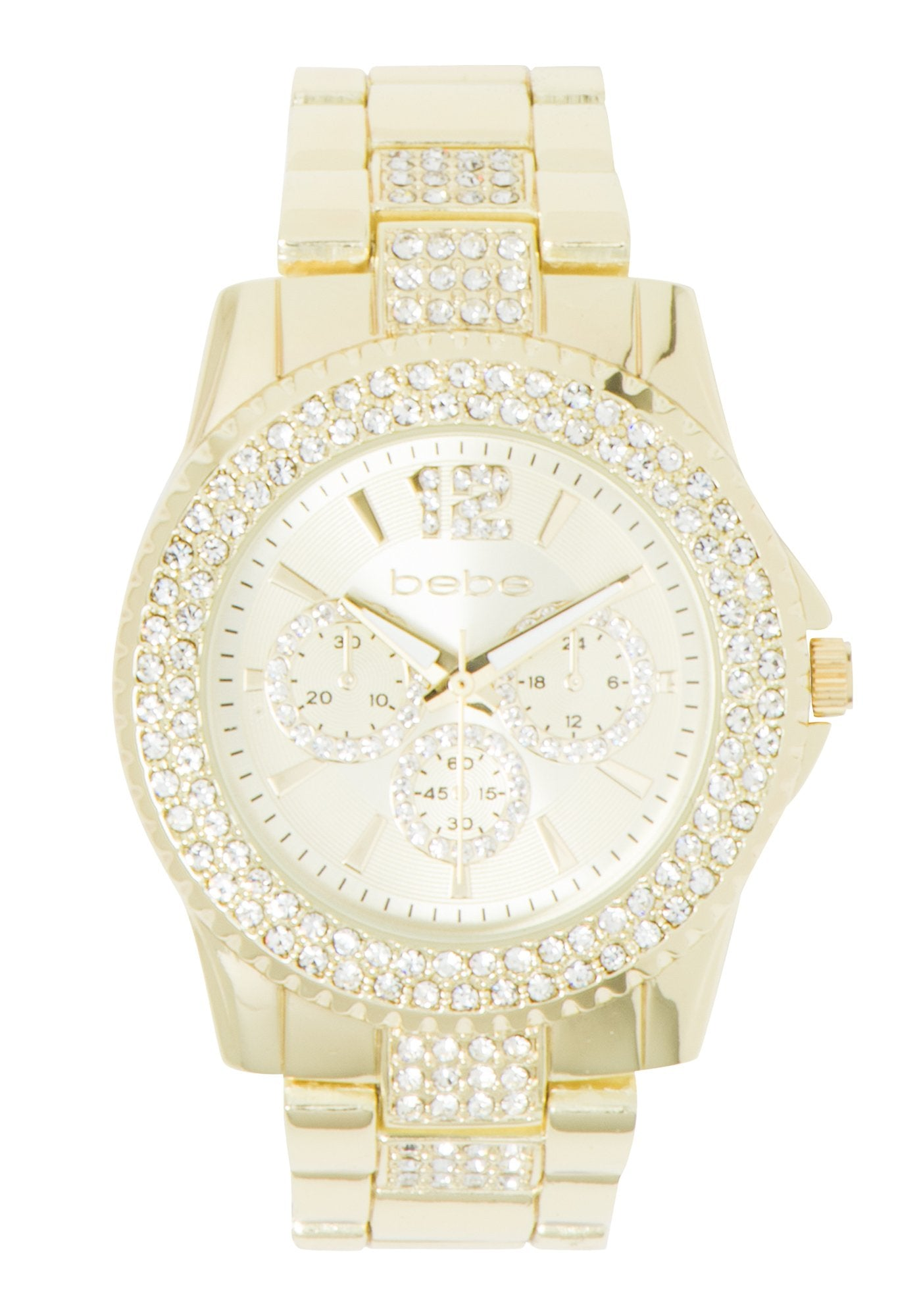 Bebe Women's Two Tone Rhinestone Pave Watch in GOLD Metal