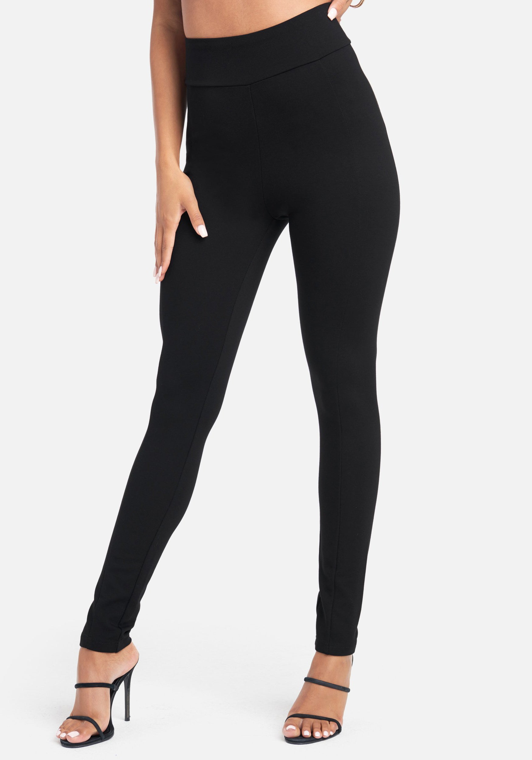 Bebe Women's Basic Pull Up Legging, Size XXS in Black Spandex/Nylon