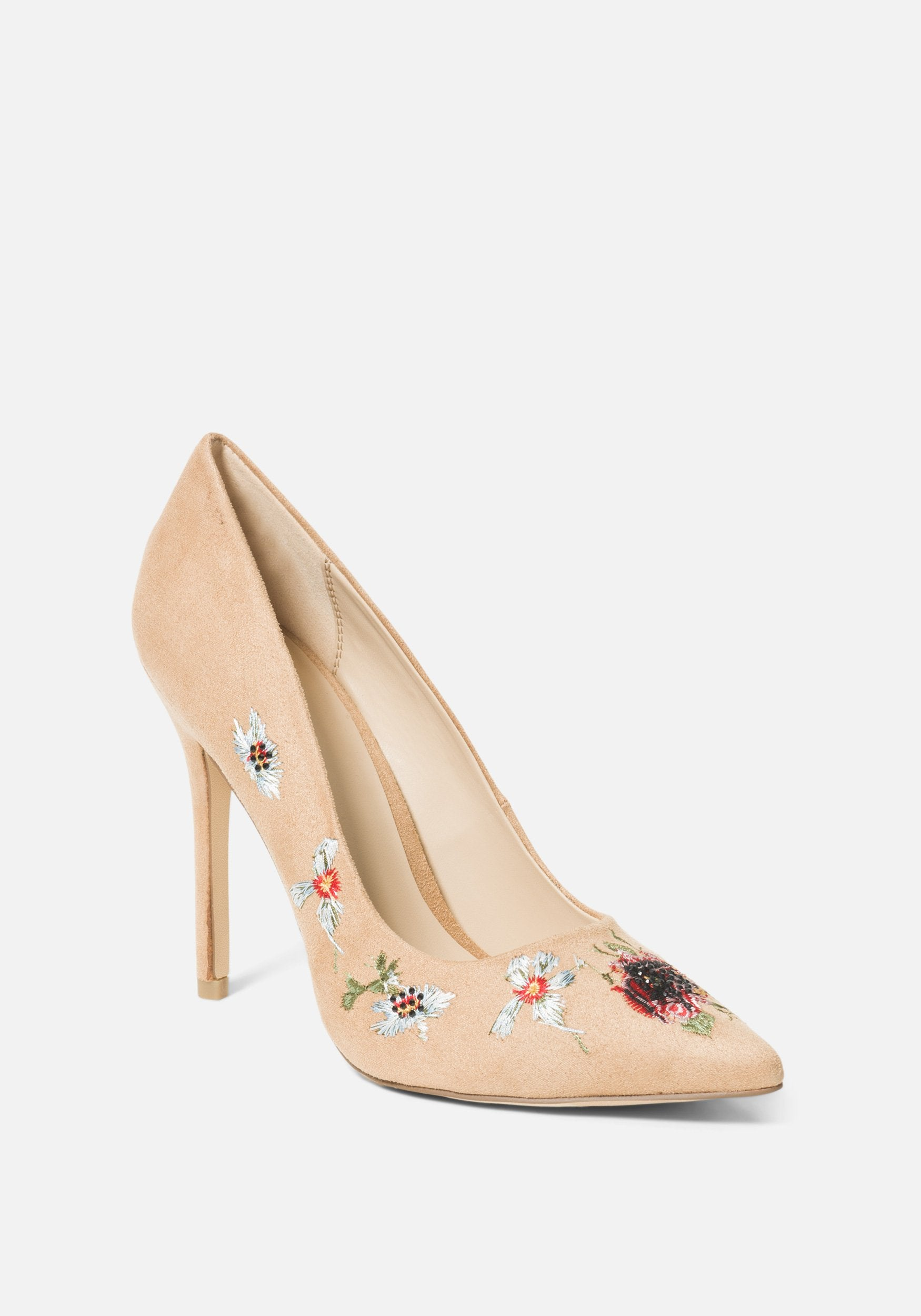 Bebe Women's Leyton Embroidery Pumps, Size 6 in Camel Synthetic