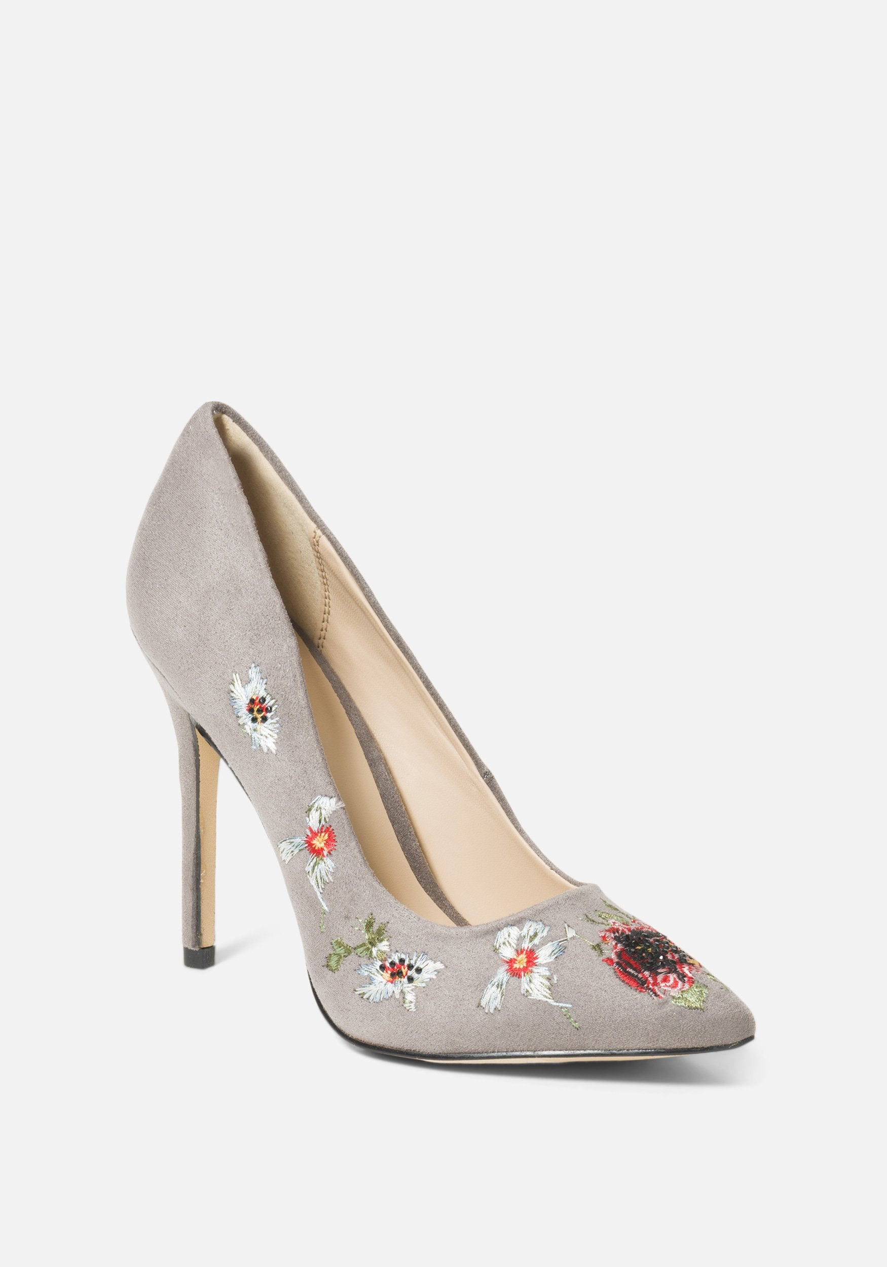 Bebe Women's Leyton Embroidery Pumps, Size 6 in Grey Synthetic