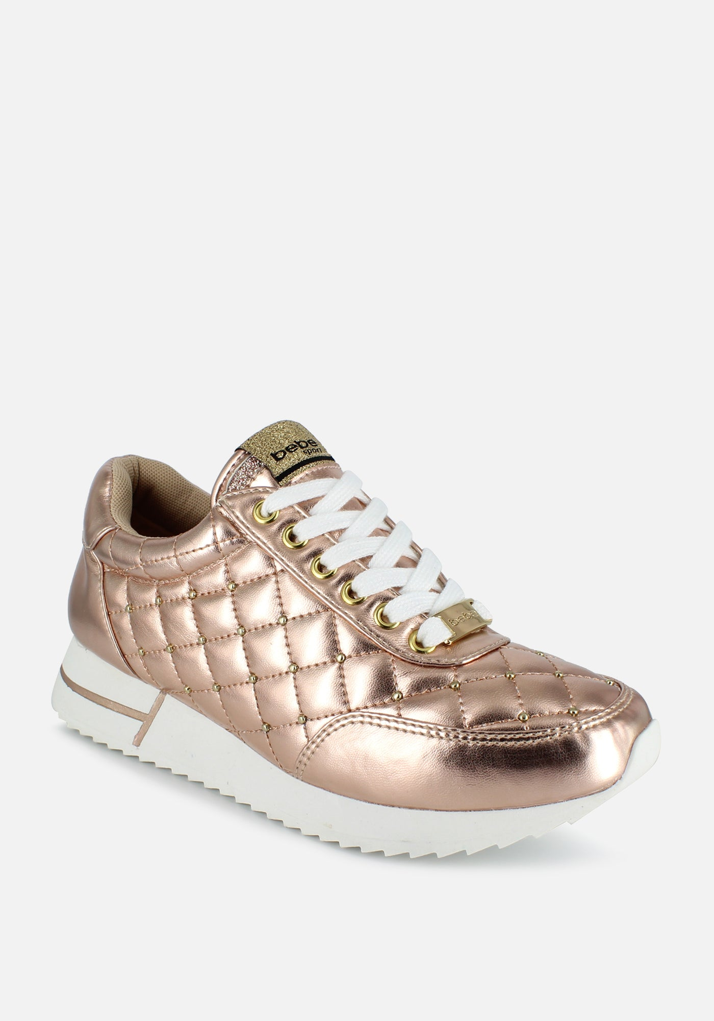 Bebe Women's Barkley Quilted Sneakers, Size 6 in Rose Gold Synthetic