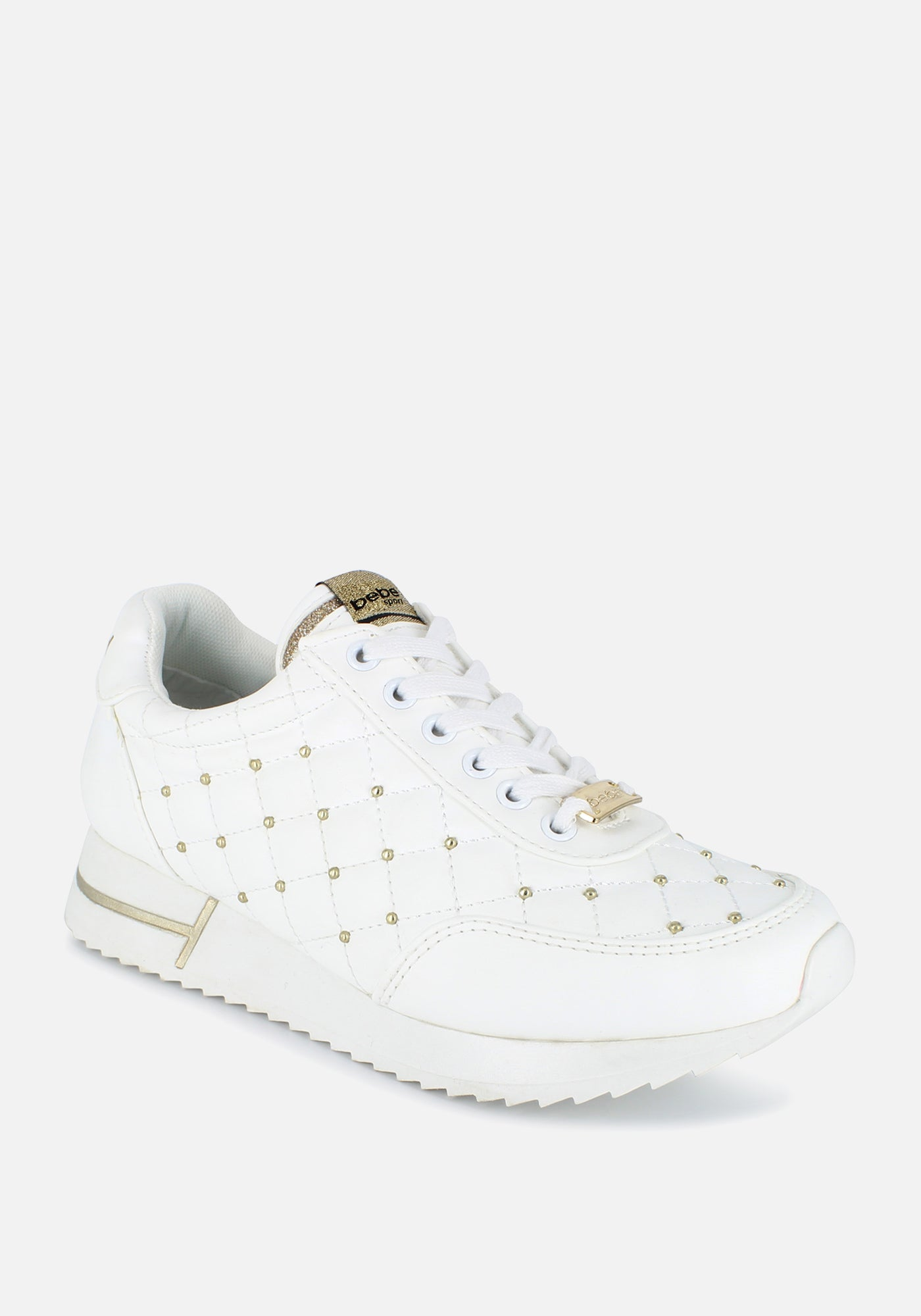 Bebe Women's Barkley Quilted Sneakers, Size 6 in White Synthetic