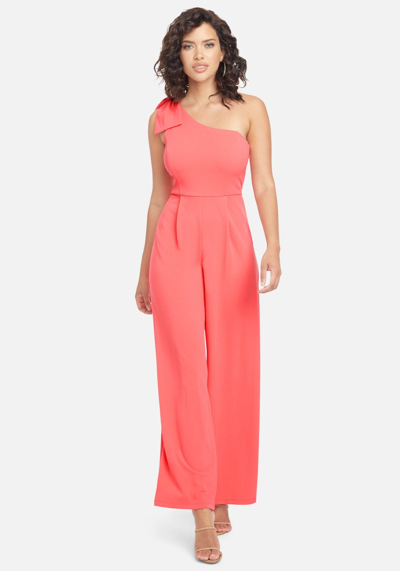 Bebe Women's One Shoulder Bow Jumpsuit, Size 2 in Coral Polyester/Spandex