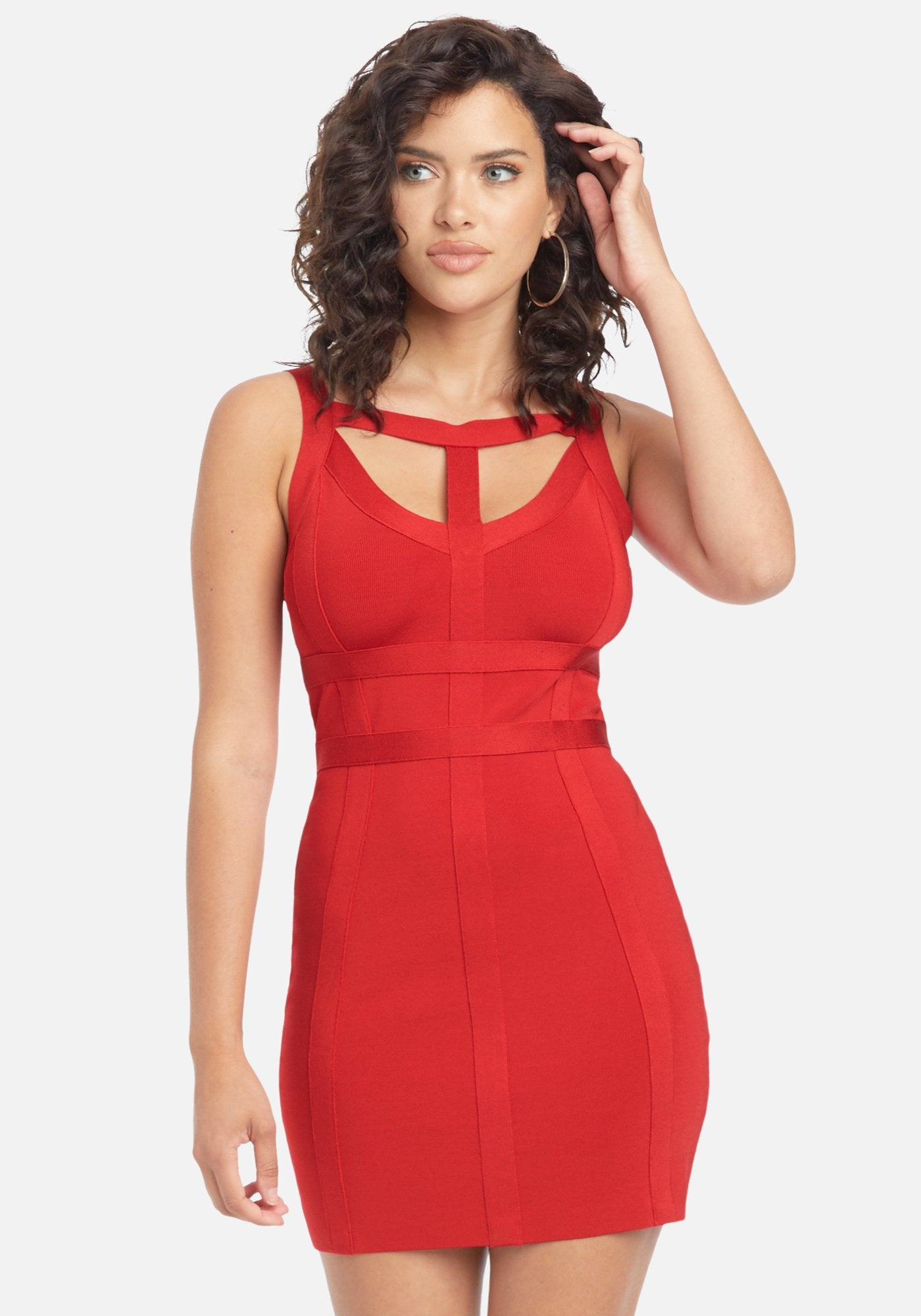 Bebe Women's Bandage Cutout Dress, Size Small in Red Spandex