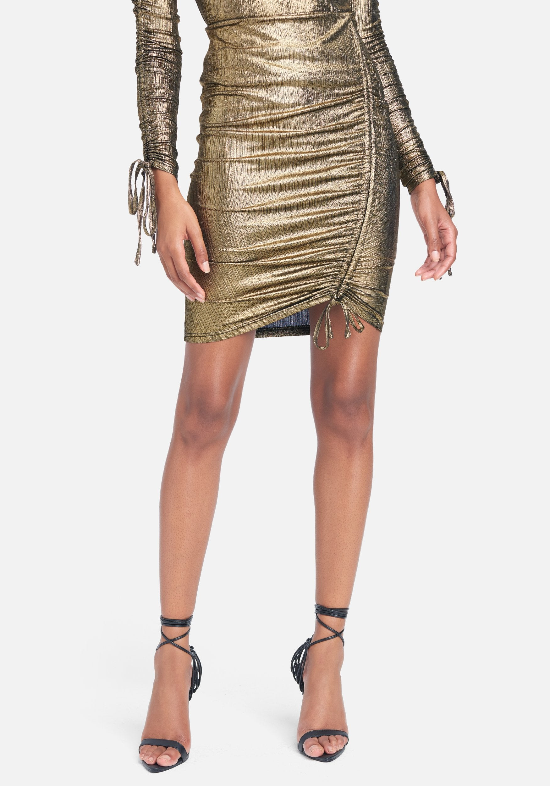 Bebe Women's Foil Knit Tunnel Detail Skirt, Size XS in Metallic Gold Metal/Spandex